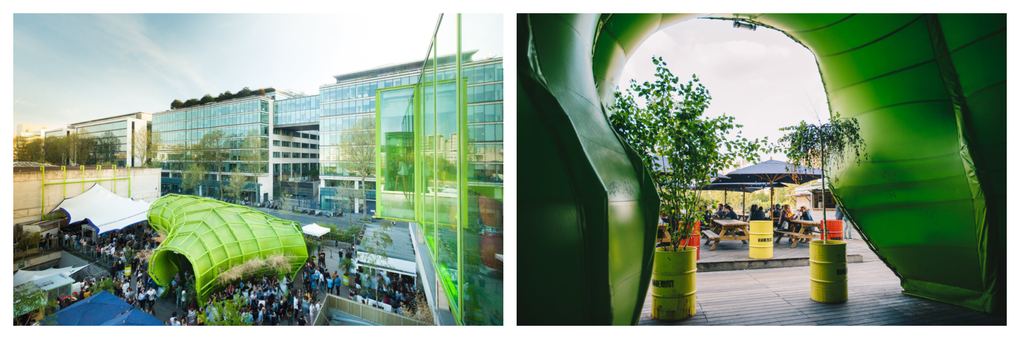 Modern glass buildings and a bright green structure outside on a terrace with people standing (left). Looking through the doorway of a bright green structure with two pot plants either side to a terrace with people sitting down at tables with umbrellas (right).