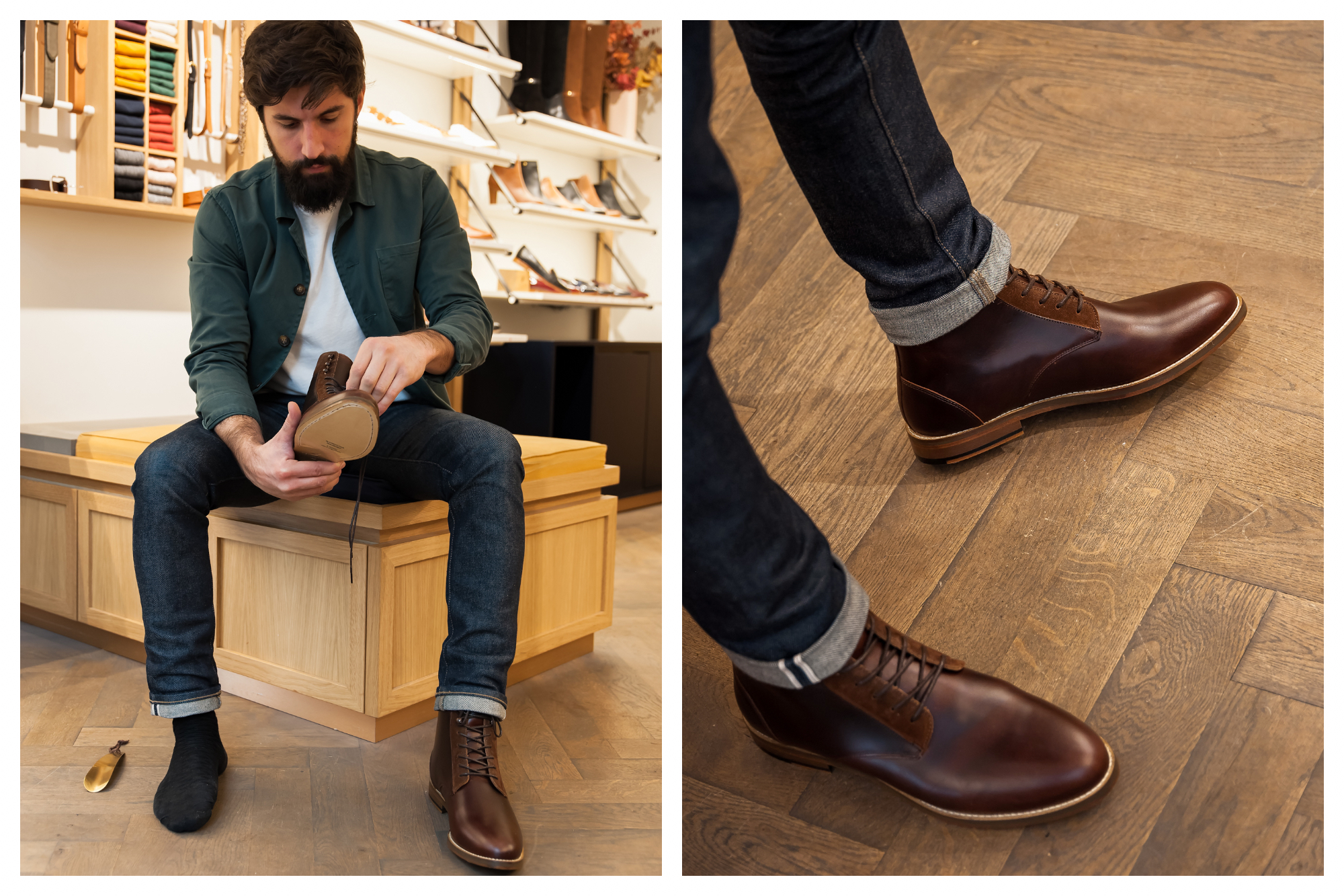 A man wearing an open green shirt trying on beautiful brown leather boots at Pied de Biche in Paris (left). A close-up of the brown leather boots (right).