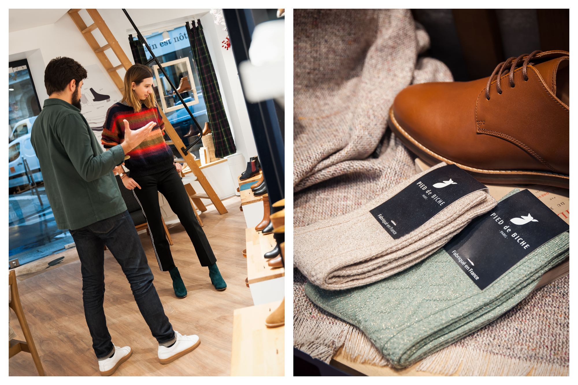 Shop attendant and customer are picking shoes out together at Pied de Biche store in Paris (left). They also have accessories like these olive green and beige socks (right).
