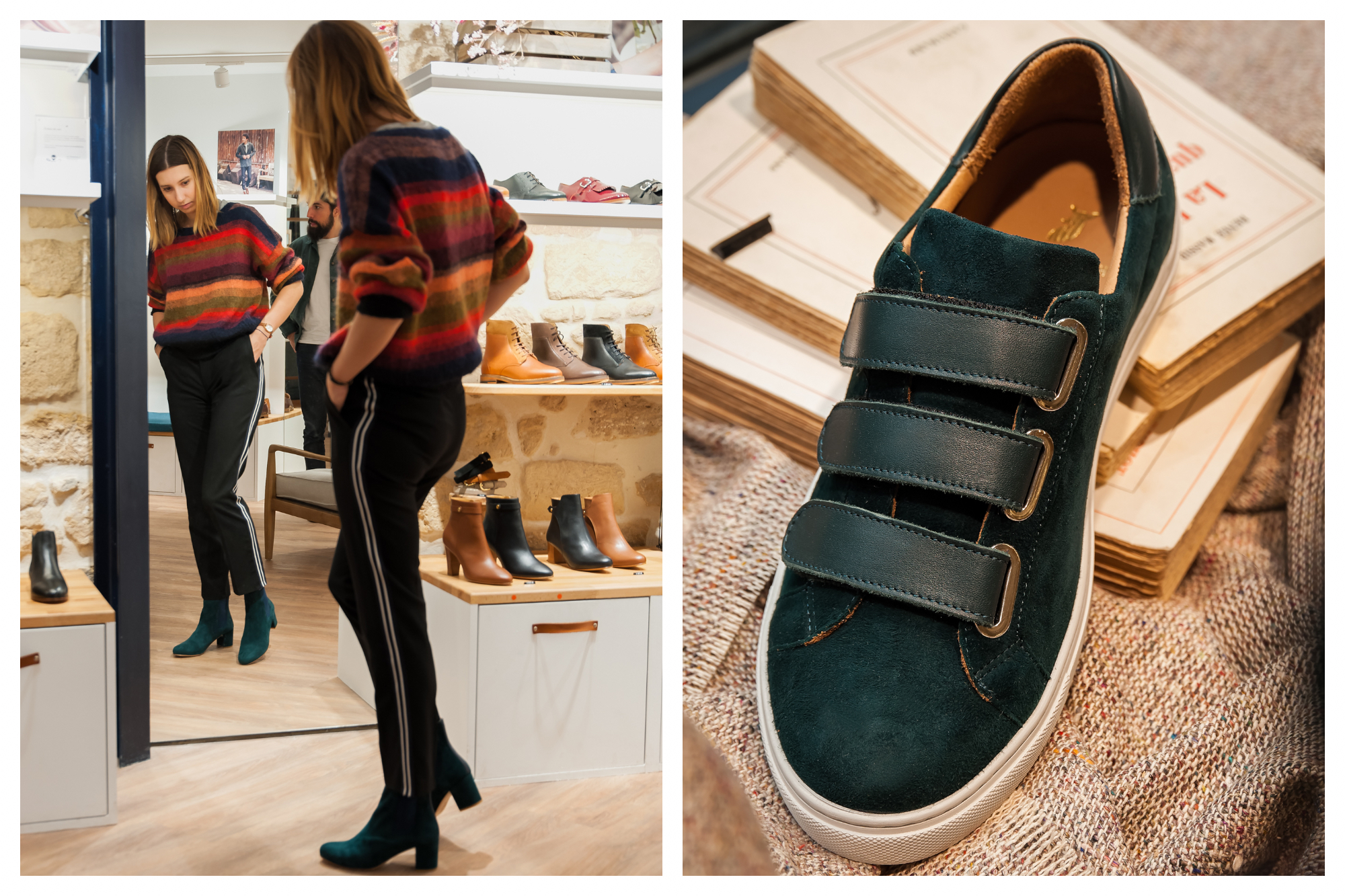 Customer trying on Pied de Biche leather ankle boots in front of the mirror (left). A Pied de Biche velcro green sneaker (right).