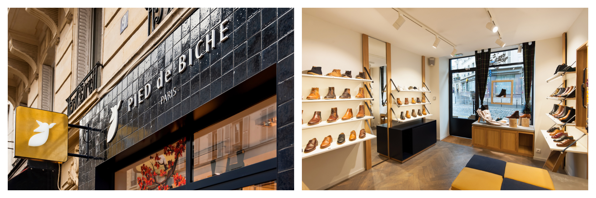 The petrol blue tiled exterior of the Pied de Biche French shoe shop in Paris (left) and the interior (right).