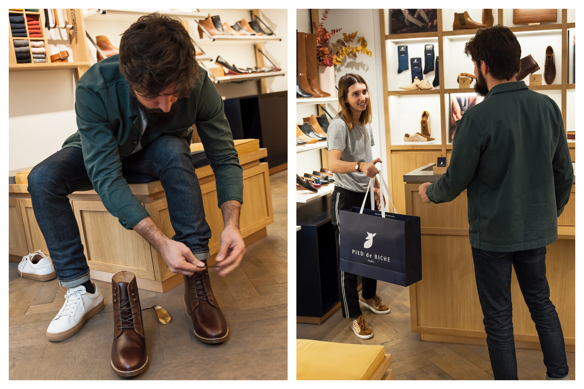 A man wearing an open green shirt trying on beautiful brown leather boots at Pied de Biche in Paris (left). Shop assistant hands customer a pair of shoes in a bag at Pied de Biche (right).