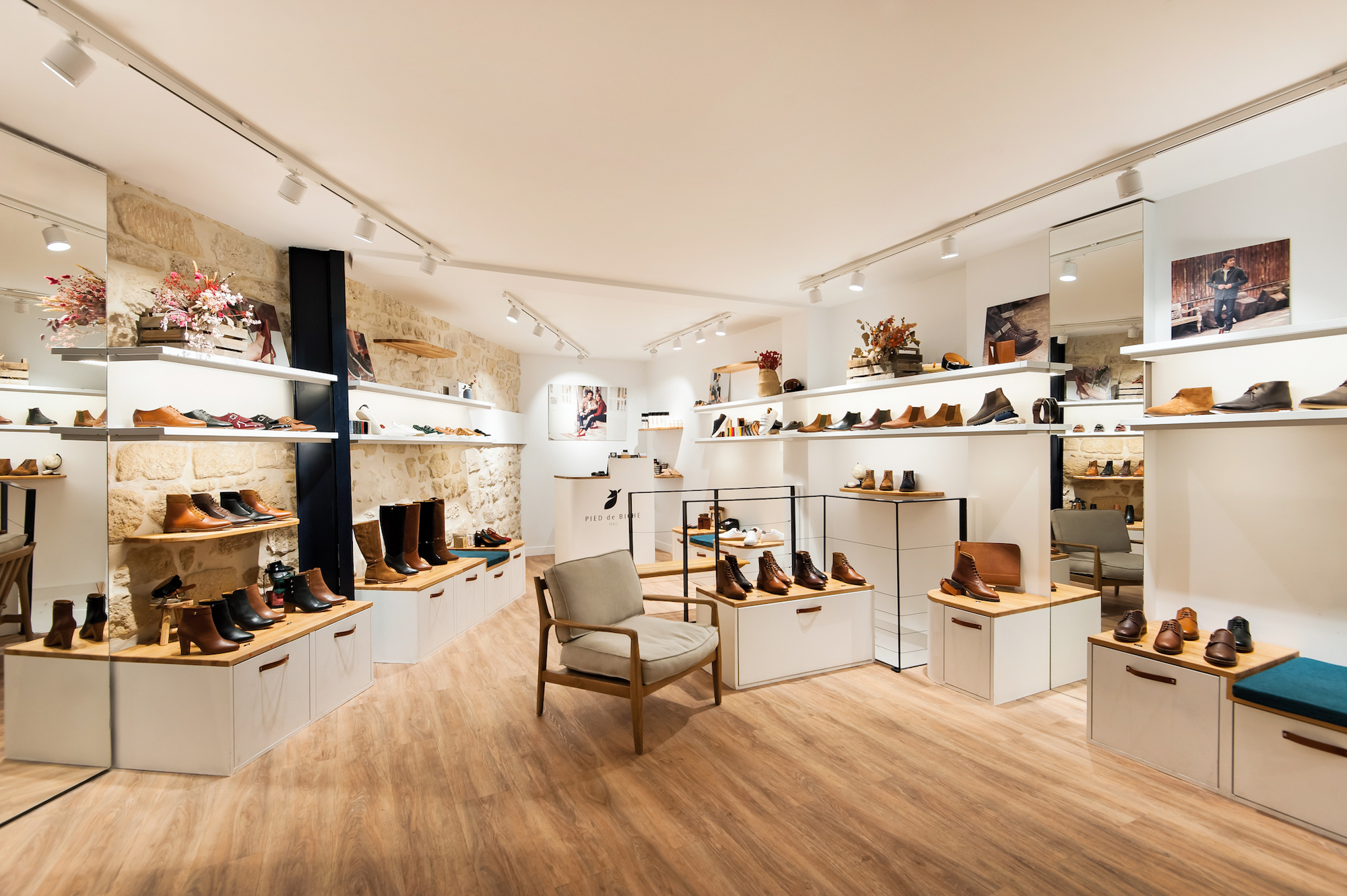 Interior of Pied de Biche shoe shop with wooden floors, in Paris.