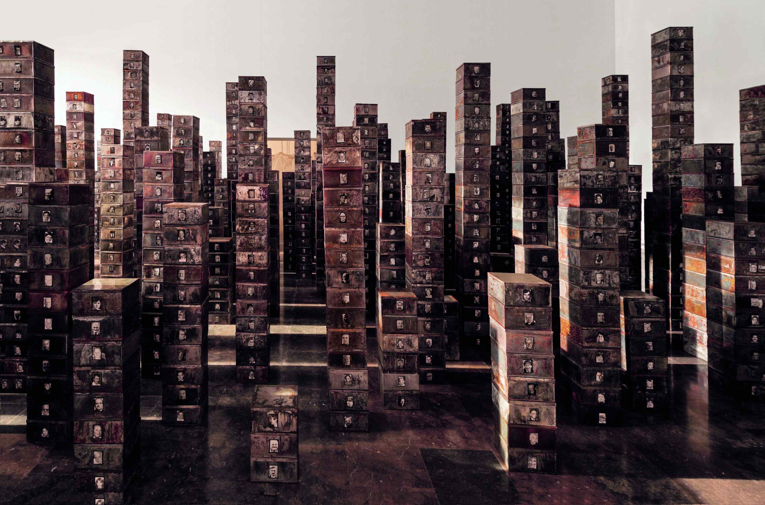 Towers of filing cabinets as part of Christian Boltanski's latest exhibition in Paris.