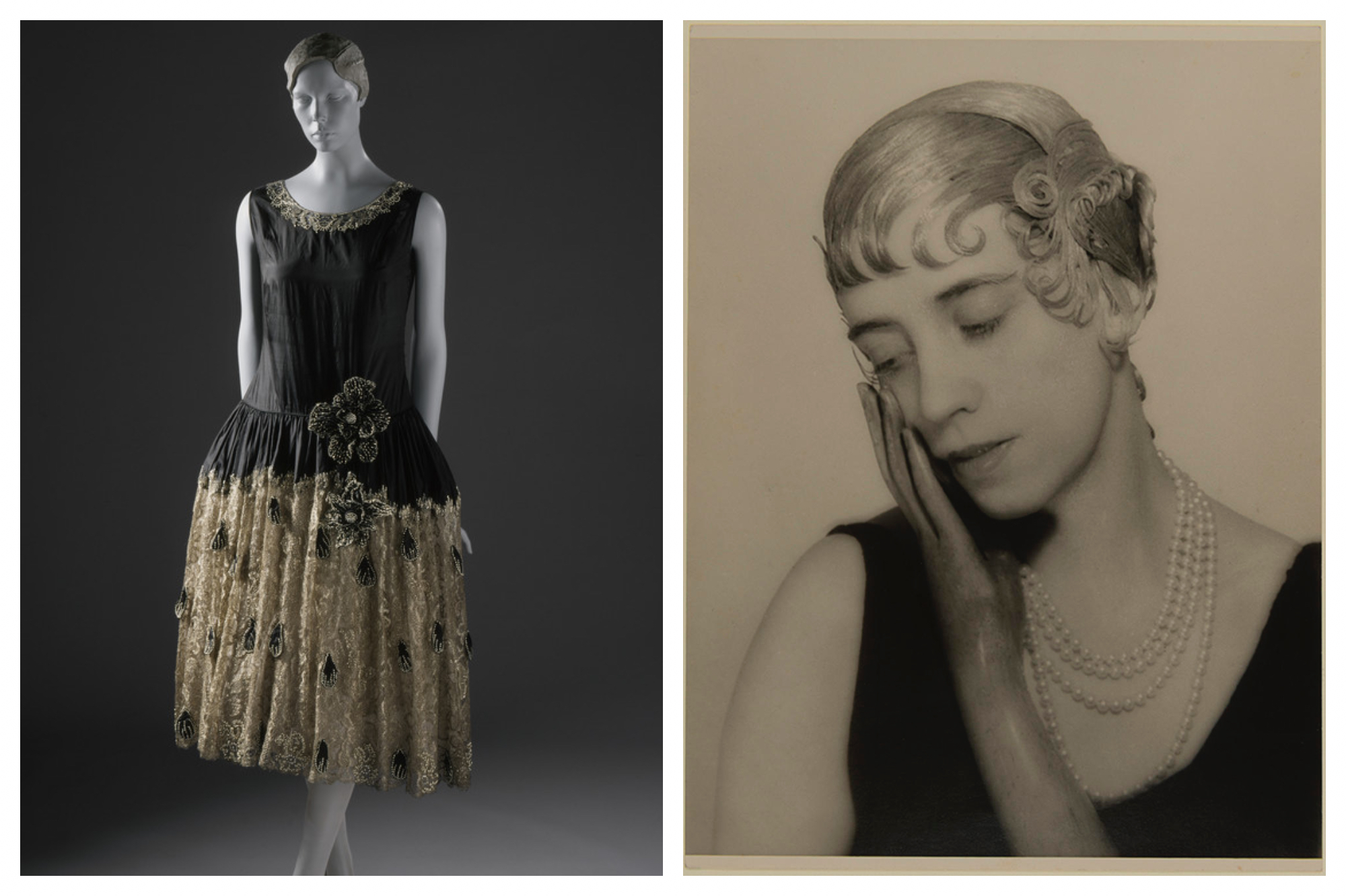 Left, a dress by Jeanne Lanvin on a mannequin. Right, a portrait of a woman with her hand resting on her cheek by Man Rey.