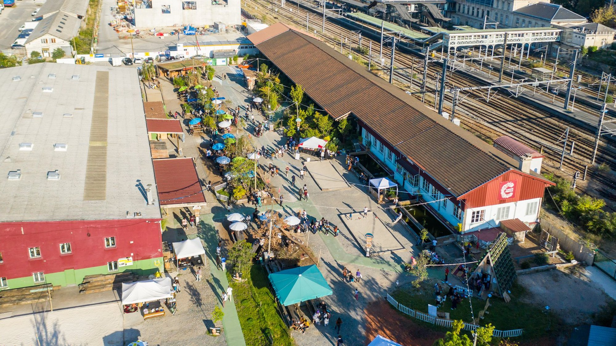 View from the sky of the CIté Fertile culture hub and bar in Pantin on the outskirts of Paris.