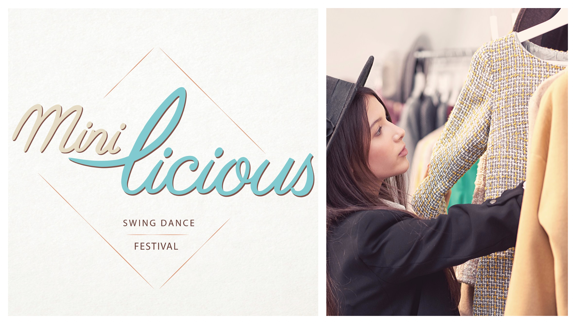 Left, a poster for a swing dance festival in Paris this February with the lettering spelling 'Minilicious'. Right, a girl wearing a black hat looking through  racks of clothes.