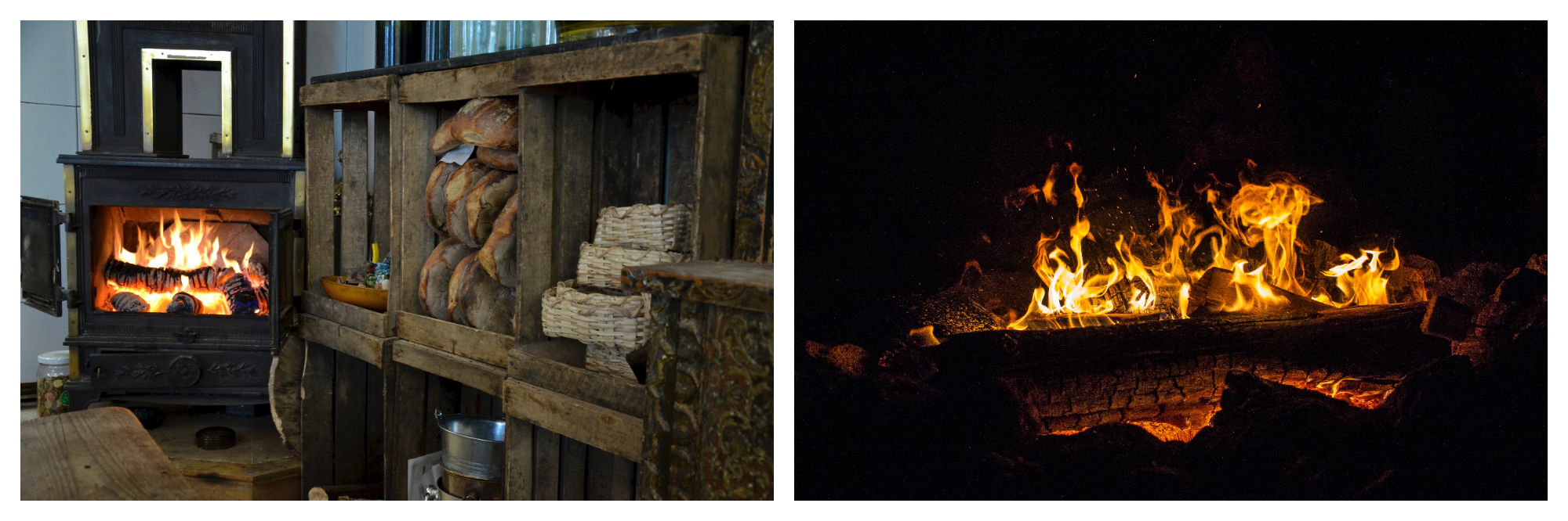 On left: The metal hearth of La Cave de l'Insolite is bright and cozy, offering diners a charming atmosphere in this restaurant located on the rue de la Folie Méricourt in Paris. On right: A fire roars in a chimney, leaving the orange glow of embers as flames lick the logs.