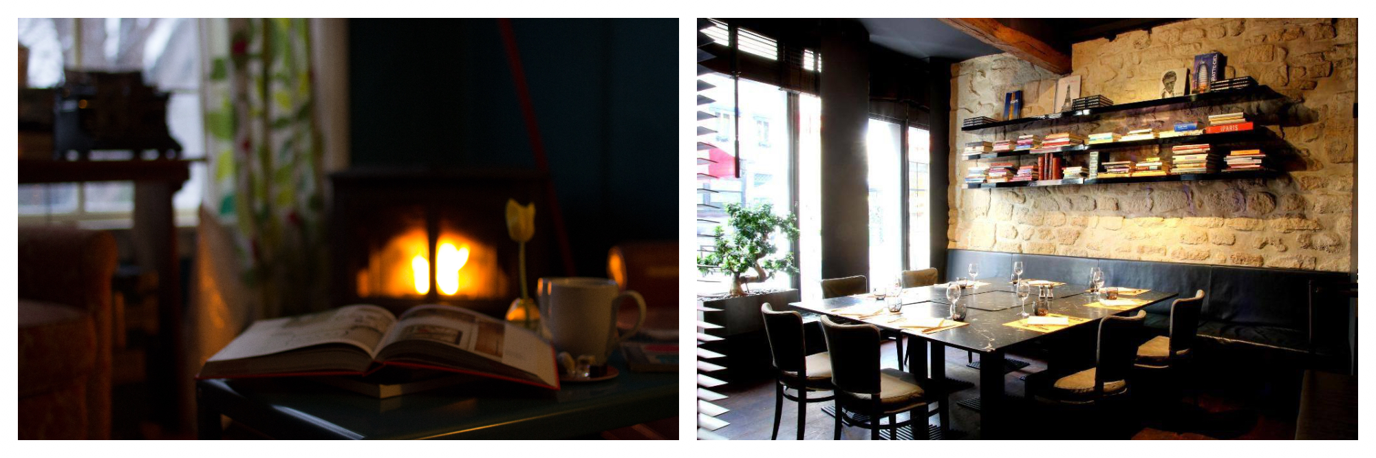 On left: A comfortable fire casts an orange glow over a café table, leaving the patron to enjoy her book and large mug of coffee on a grey winter day. On right: Light pours into the library room and onto a dining table of Atelier Maître Albert, a modern rotisserie on Paris' left bank.