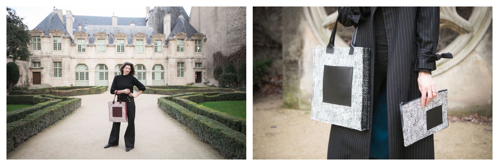 On left: Kasia Dietz, founder of her eponymous handbag line, enjoys a walk through the gardens of Hôtel de Sully in Paris' Marais neighborhood. On right: a model wears a Kasia Dietz black and white tote bag with a clutch to match.