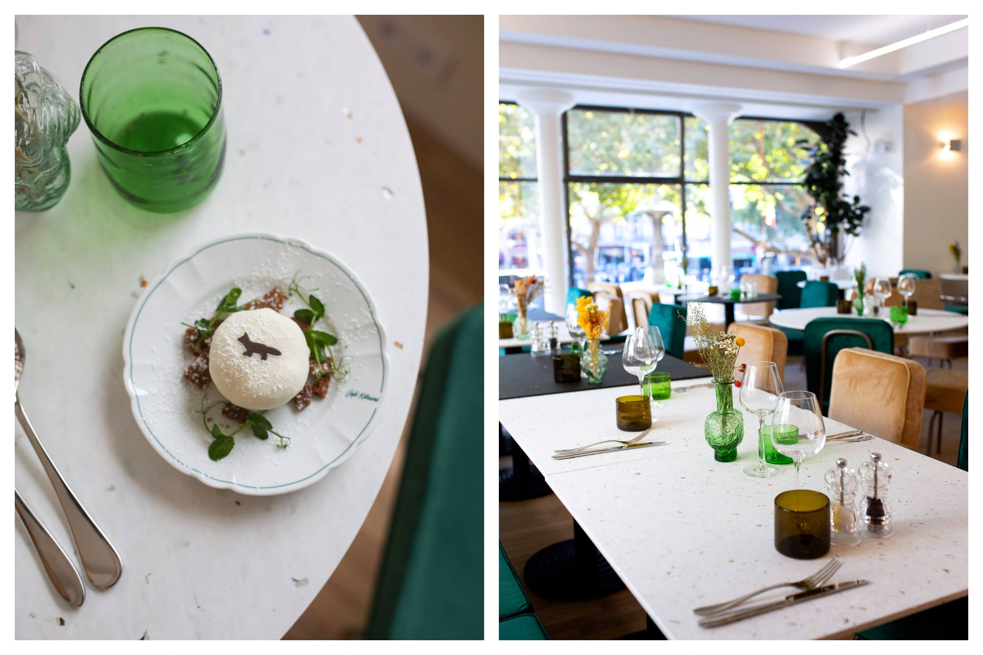 A rice ball dish with a small design of a fox on a table (left) and light and bright interiors (right) of Café Kitsuné in Paris.