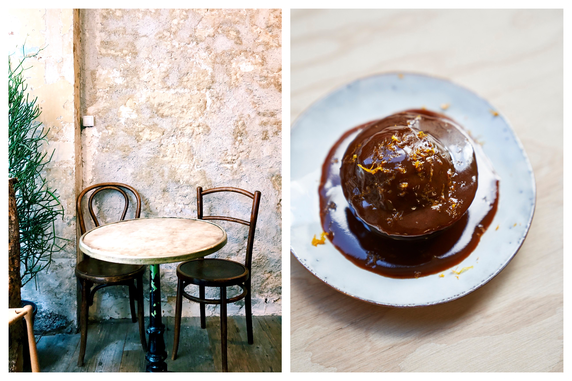 A table and chair with an exposed stone wall (left) and a sticky toffee and chocolate cake (right) at Dreamin Man coffee shop in Paris.