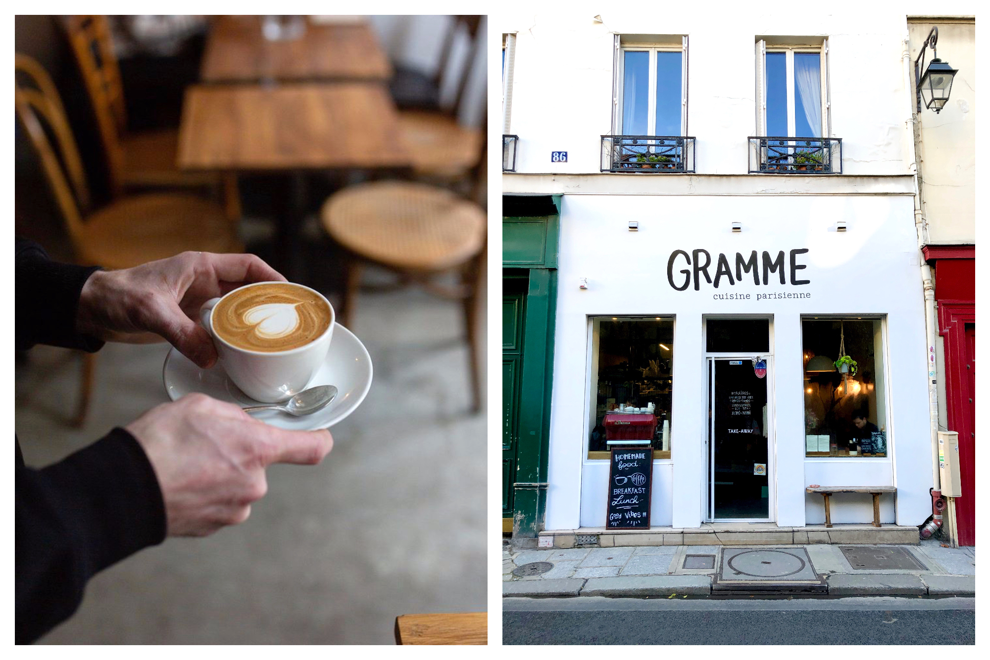 A bartender carrying a frothy cappuccino with a heart with wooden tables and chairs in the background (left) and the white exterior of Gramme coffee shop in Paris (right).