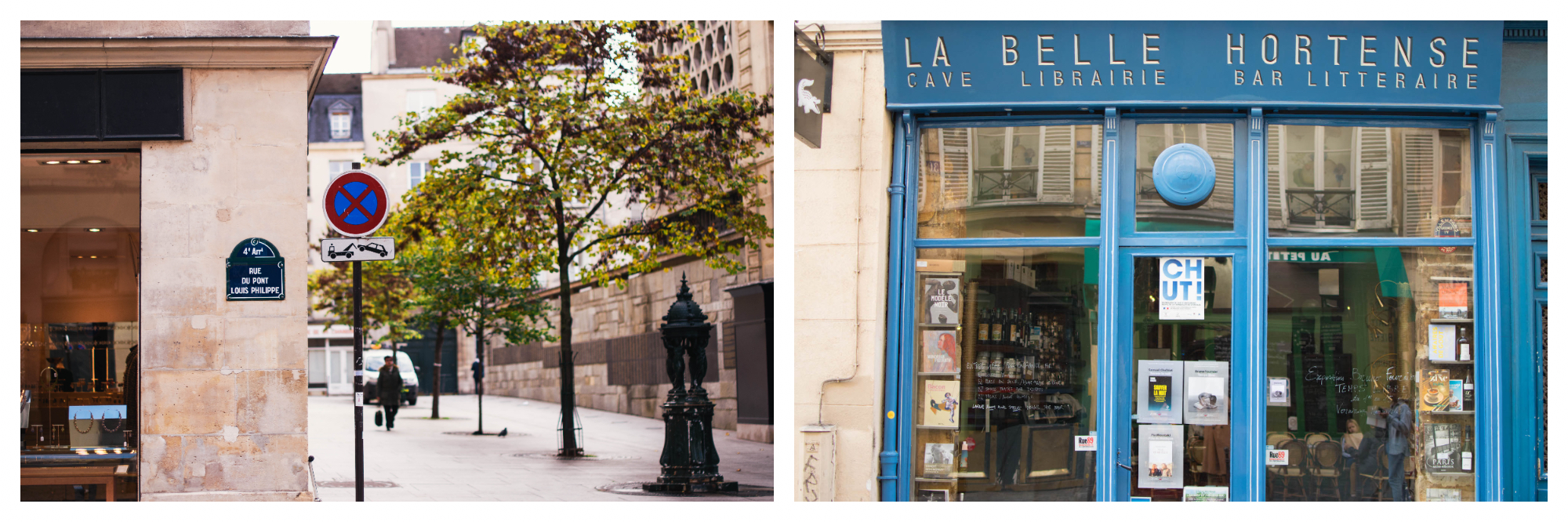 On left: A peaceful, sunny day on rue du Pont Louis Philippe in Paris' 4th arrondissement. On right: The wine bar La Belle Hortense is a wine cave, bookshop, and literary ball rolled into one, and a popular spot for an apéritif.