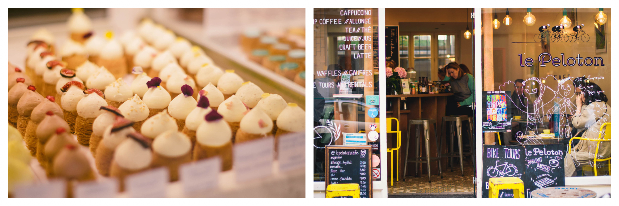 On left: cute, miniature pastries sit lined up in a shop window, each wearing a little hat of cream and dotted with a delicate morsel of fruit. On right: The popular coffee shop Le Peloton in Paris' Le Marias neighbhorhood opens its doors into the inviting, warm interior accented by the yellow furniture.