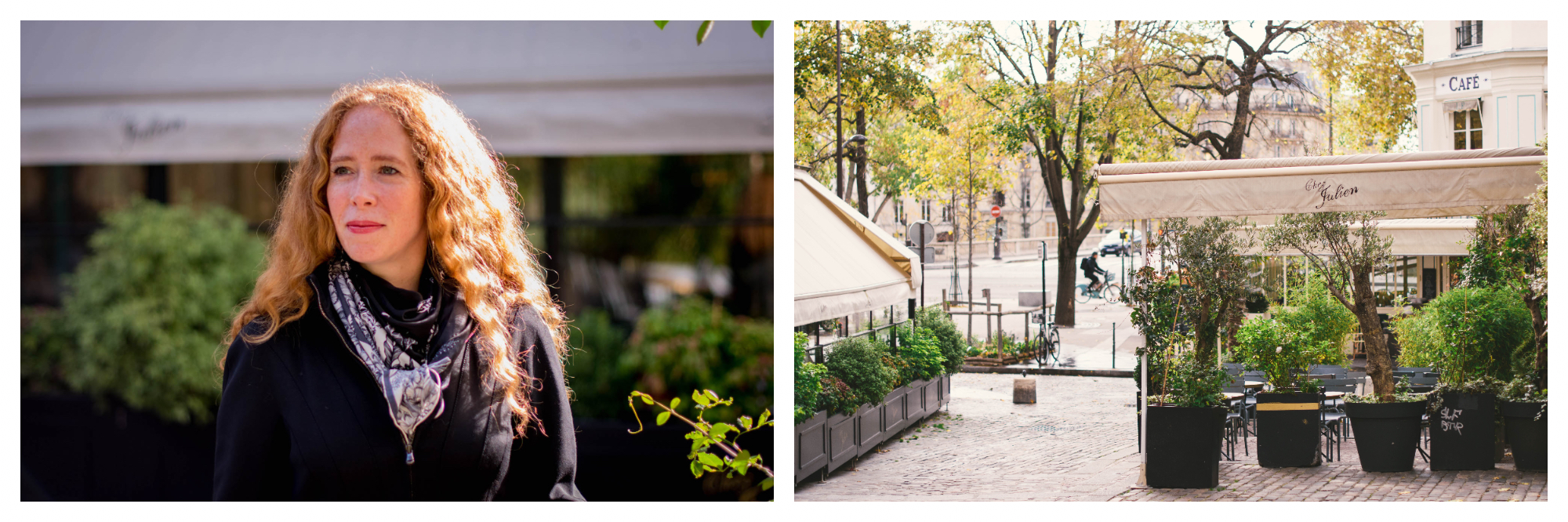 On left: Jane Bertch, founder of La Cuisine Paris cooking school, enjoys a sunny fall afternoon in the streets of Paris. On right: A quiet moment at rue des Barres, a small side street by the Seine in Paris' 4th arrondissement.