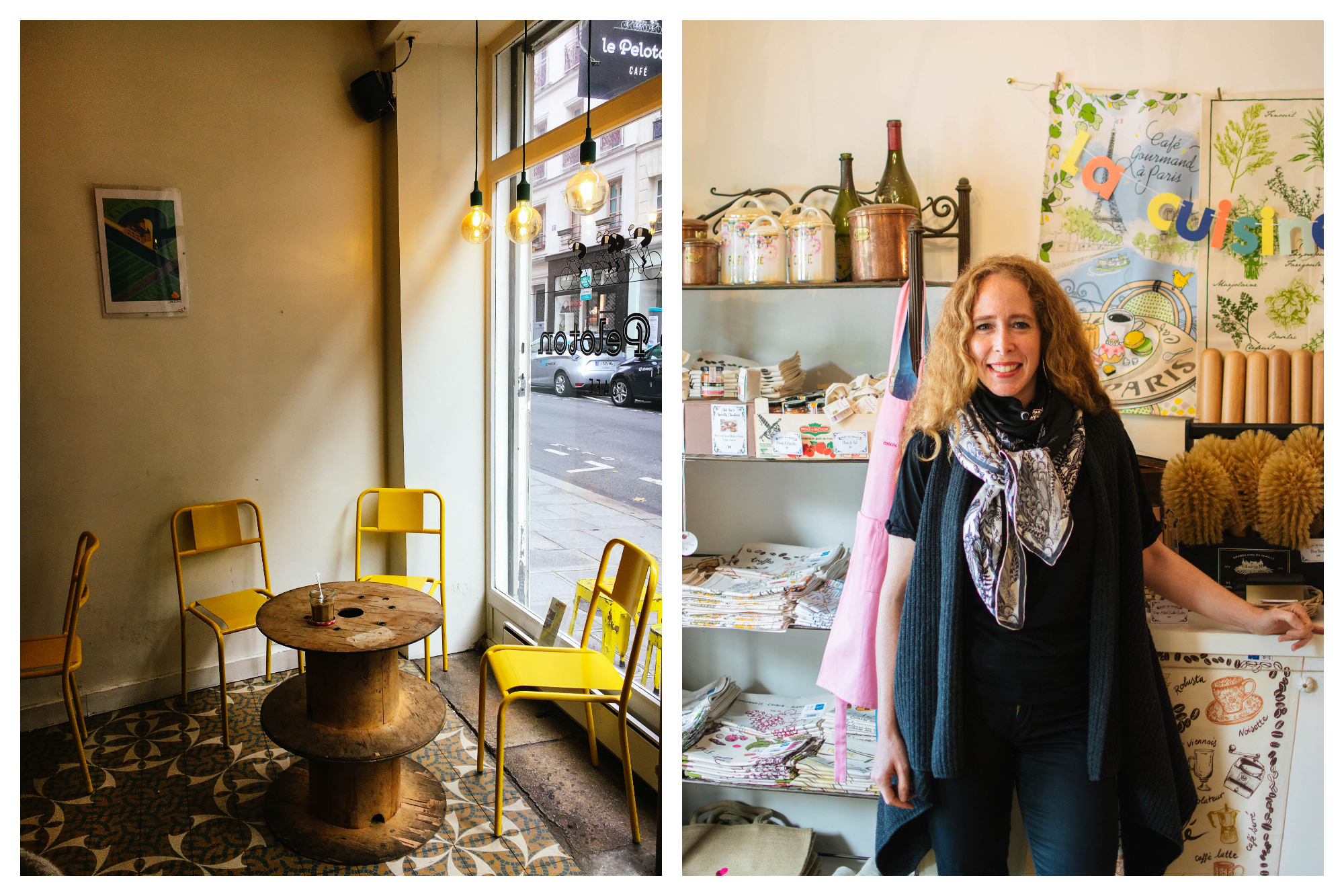 On left: Cheerful yellow metal chairs await the morning coffee crowd at Le Peloton, a popular coffee shop in Le Marais. On right: Jane Bertch smiles in the kitchen of La Cuisine Paris, the cooking school she founded, located on the Seine River.