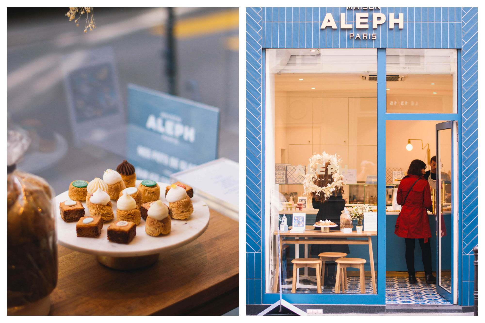 On left: A plate of miniature pastries sit in a sunlit window of Maison Aleph. Called nids, they are shaped like birds' nests and topped with fruit confit and whipped cream. On right: the sky-blue facade of Maison Aleph in Paris invites people to step inside for a treat.