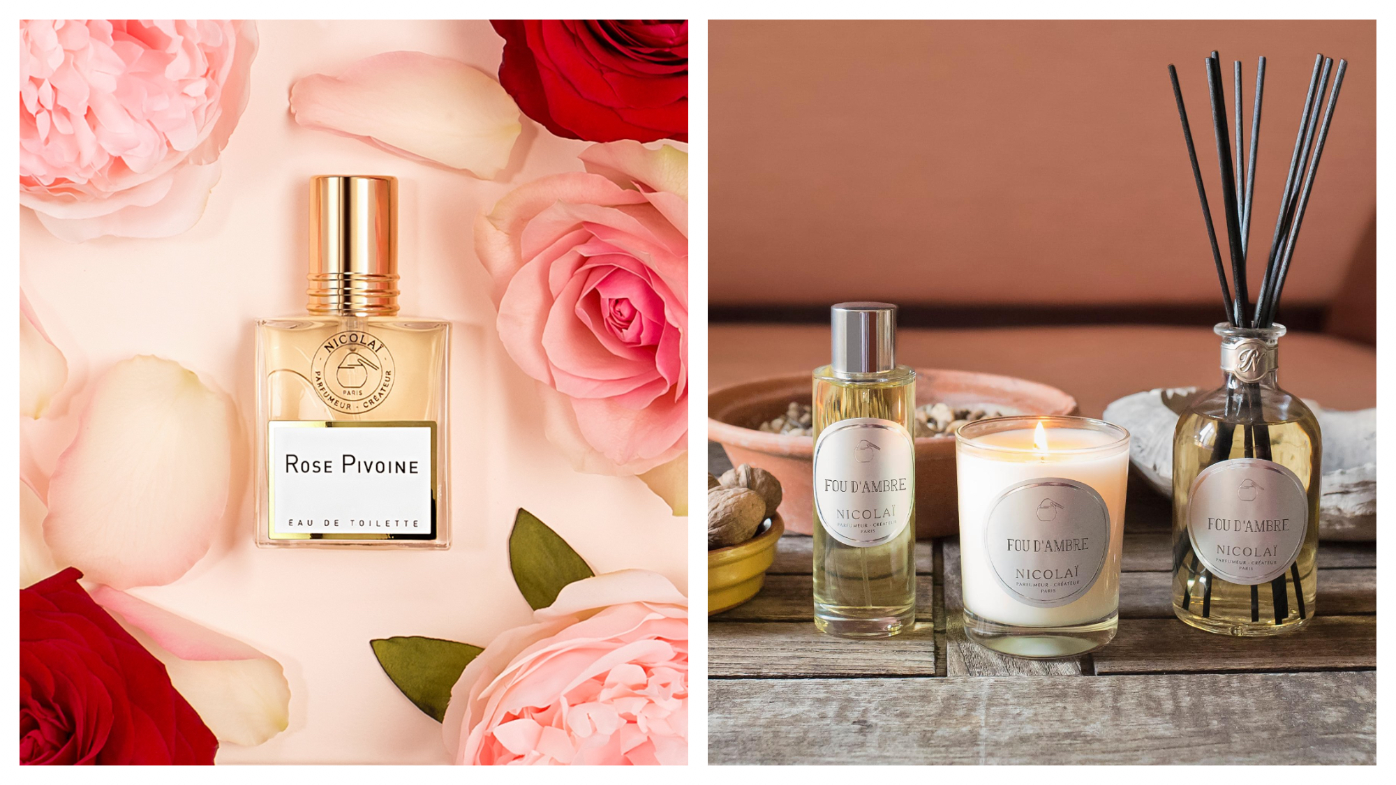 """On left: An elegant bottle of perfume, called """"rose pivoine,"""" lays surrounded by pink peonies and roses. It is a scent created by Nicolaï, a 30-year old perfumery founded by the great-granddaughter of Pierre Guerlain. On right: A trio of perfume, a candle, and a diffuser in the scent """"Fou d'Ambre"""" were created by the perfumery Nicolaï, whose laboratory is located on the rue de Richelieu in Paris."""