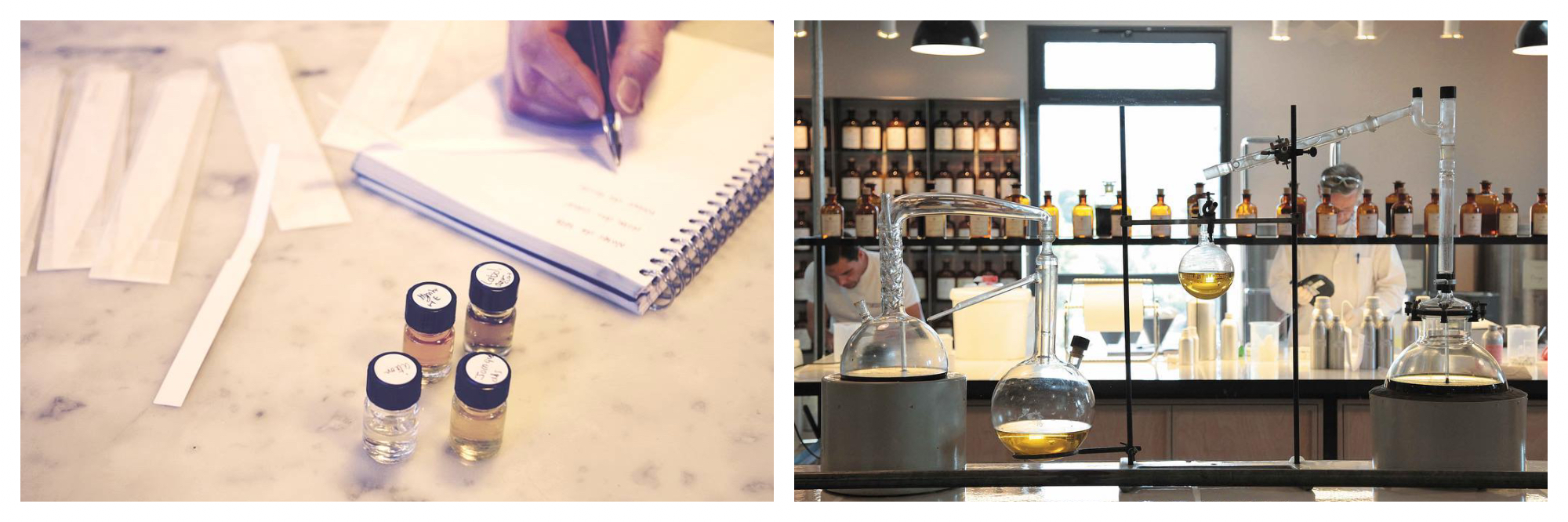 On left: After testing four different perfumes, a participate takes down notes at a workshop run by Rendez-Vous Parfum, a Paris-based company specializing in perfume walks, workshops, and sensory events. On right: Two perfumers carefully mixing scents in the workshop of Fragonard, a family-owned Paris perfumery, which also runs the Musée du Parfum in Paris.
