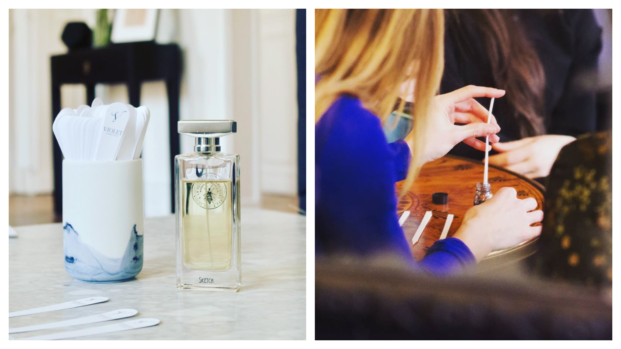 On left: A sleek bottle of perfume sits next to tester strips, awaiting participants at a workshop run by Rendez-Vous Parfum, which specializes in perfume walks, workshops, and sensory events. On right: A woman carefully dips a tester stick into a bottle of perfume at an event hosted by Rendez-Vous Parfum, where participants can learn more about the history and creation of this luxury item.