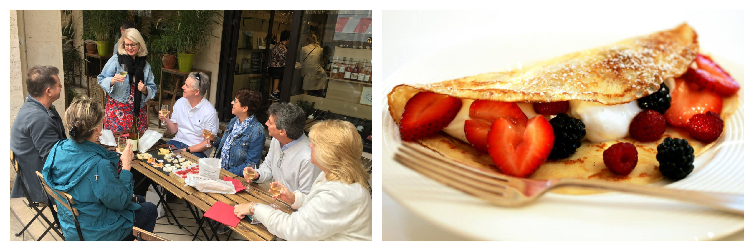 On left: Lisa Rankin, founder of the food tour company Flavors of Paris, leads a guided visit on wine, cheese, and charcuterie at a local Paris restaurant. On right: An overflowing, golden, crispy crêpe is stuffed with whipped cream. strawberries, raspberries, and blackberries.