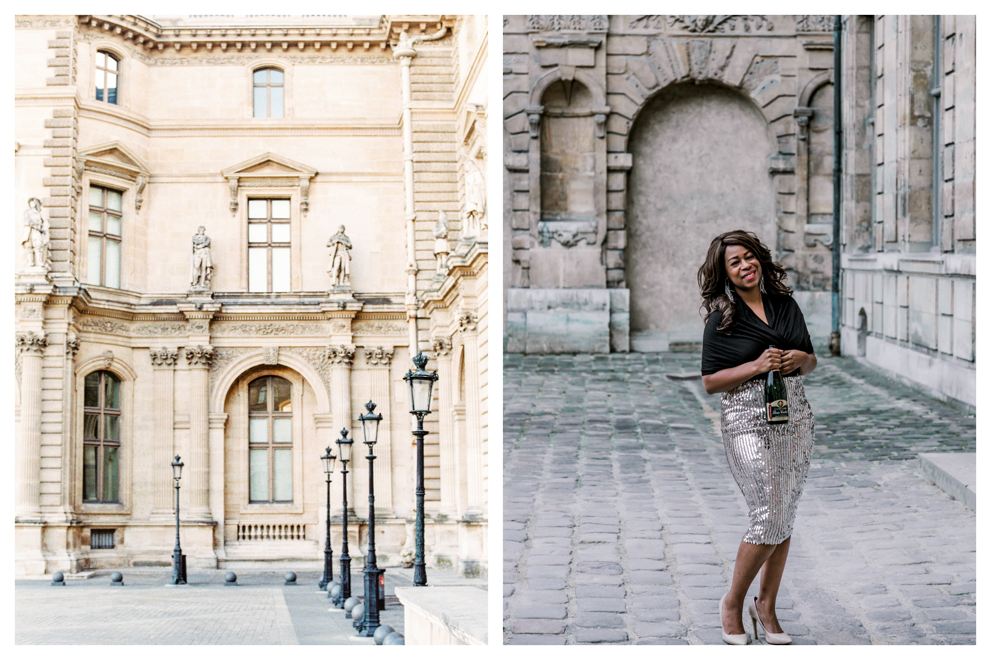 On left: A peaceful morning at the Louvre in an empty corner of the courtyard, the statues looking down onto the classic lampposts. On right: Tanisha Townsend of Girl Meets Glass, her wine tasting and tour company, smiles for the camera, holding a bottle of champagne.