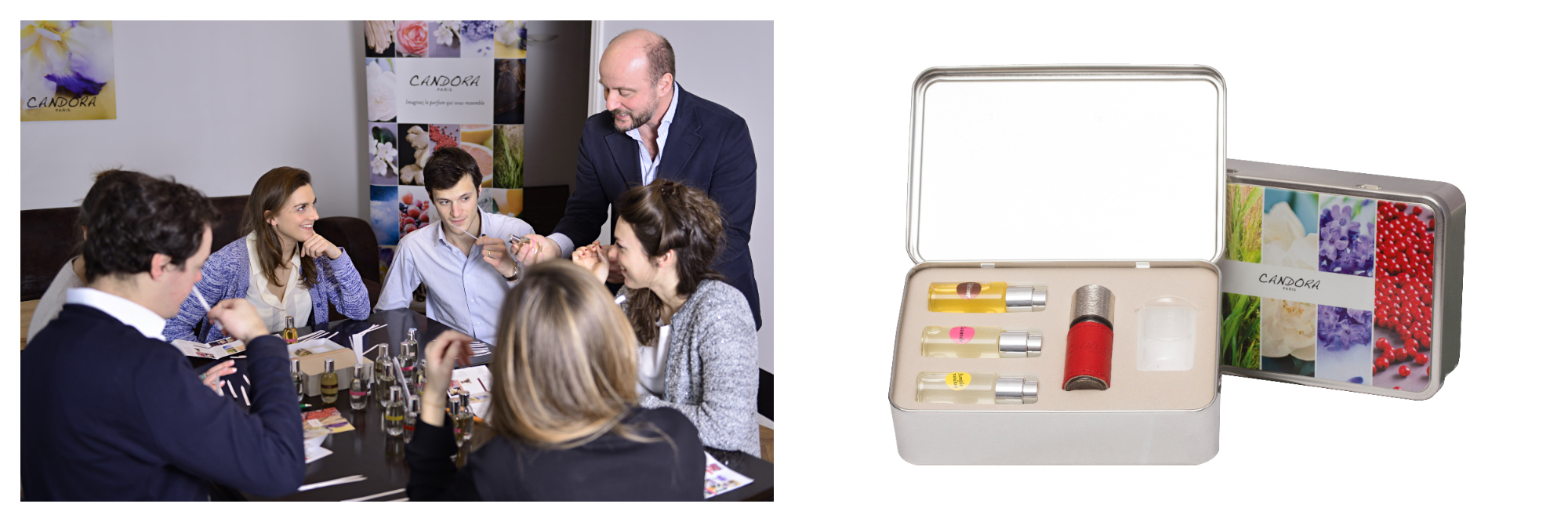 On left: A group of people participate in a workshop led by Candora, a niche perfumery in Paris' Marais neighborhood. They are given an overview of the perfume-making process before creating their own scent. On right: A tin of Candora perfumes features four different scents for recipients to try and to mix.