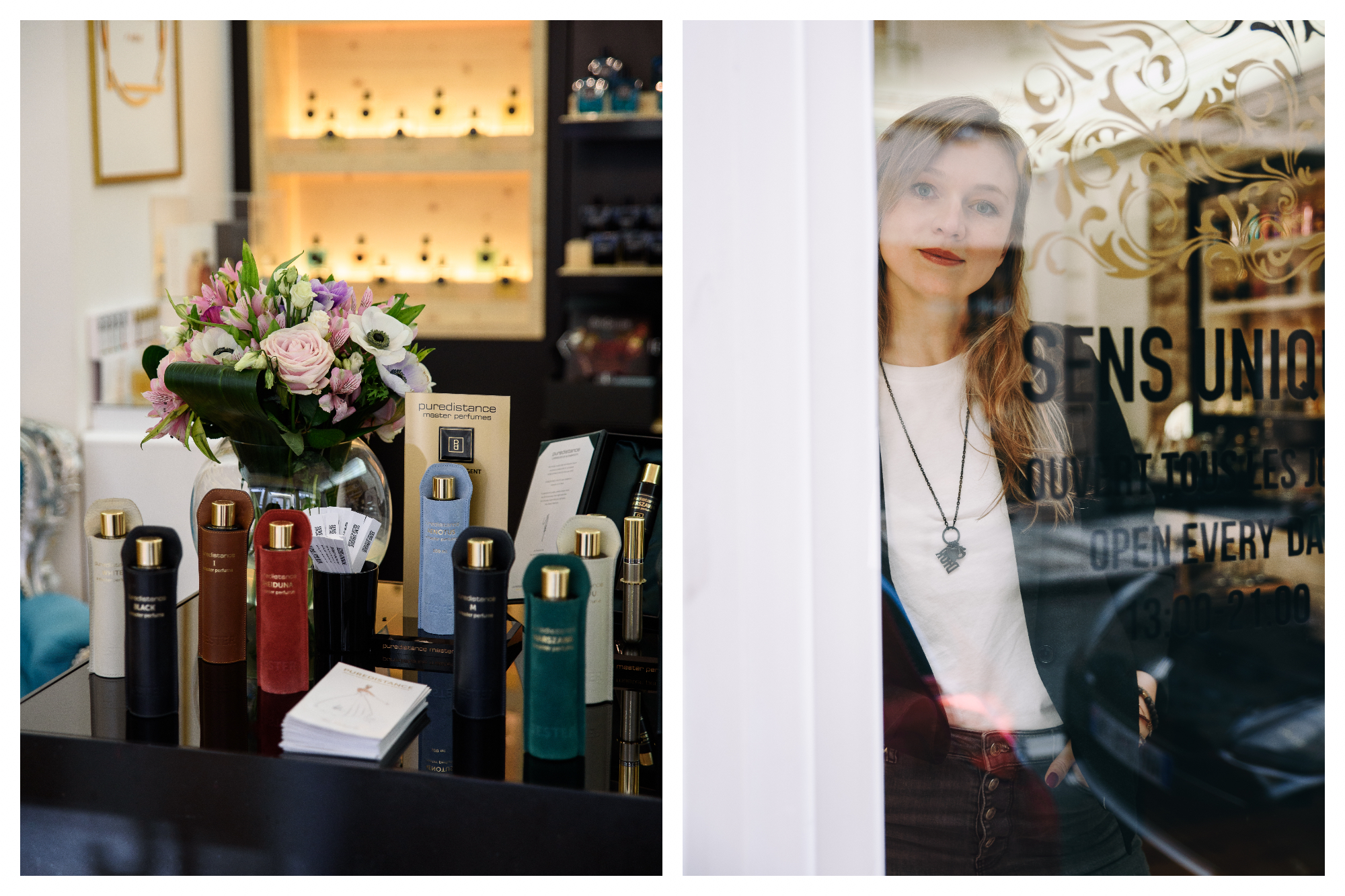 On left: Golden-capped bottles of perfume sit snuggly in leather pouches of different colors, next to an overflowing bouquet of roses and anemones at a Sens Unique boutique, which stocks only bottles from niche perfumeries. On right: A shopgirl gives a shy smile from the window of the Sens Unique shop, an intimate, chic destination for exclusive perfumes.