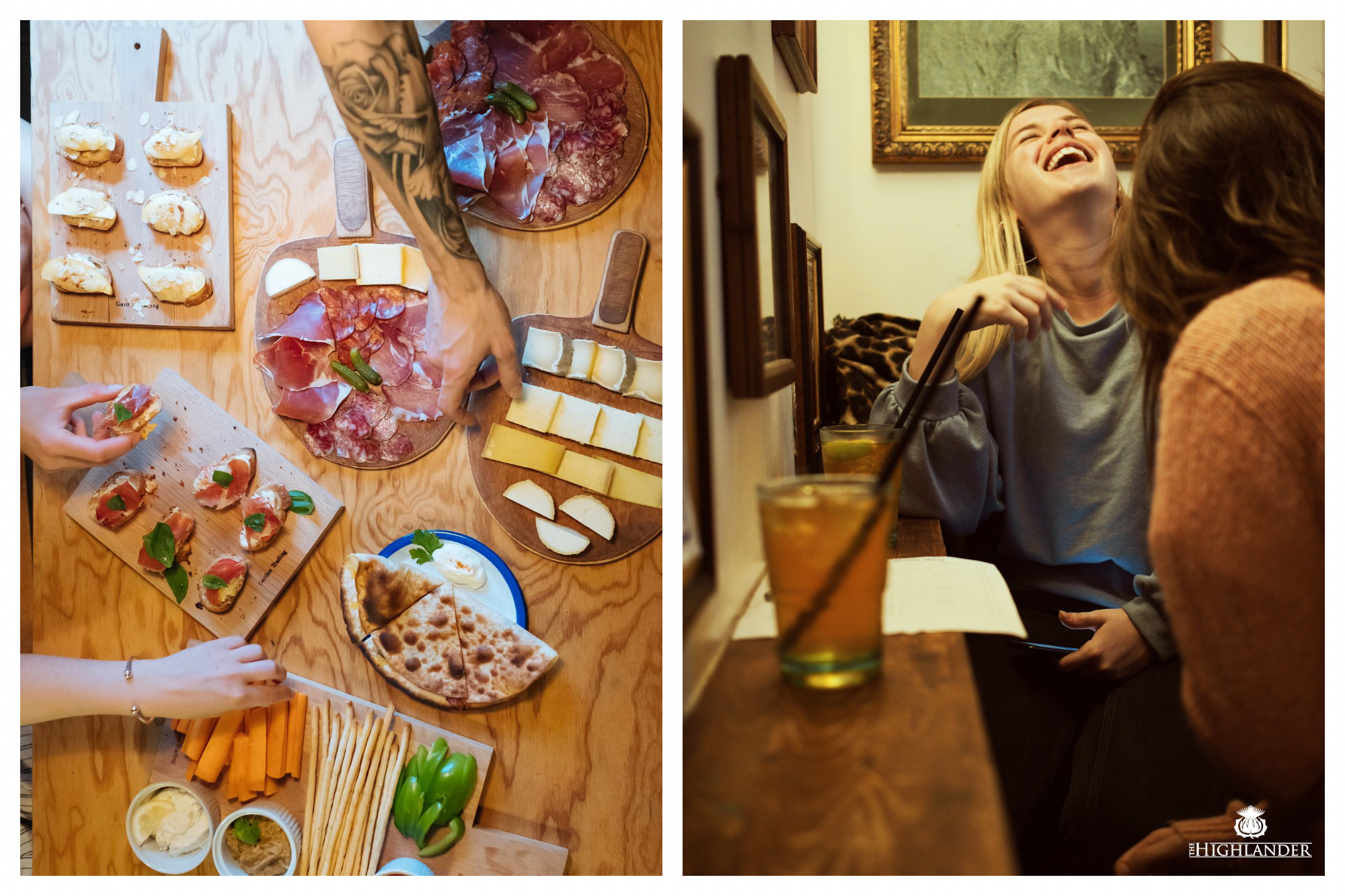 On left: Patrons of the Gossima Ping Pong Bar, in Paris' 11th arrondissement, descend on a sumptuous spread of cheese, charcuterie, bruschetta, and other shareable plates. On right: Two friends share a laugh at the trivia night hosted by The Highlander Scottish Bar in Paris' 6th arrondissement.