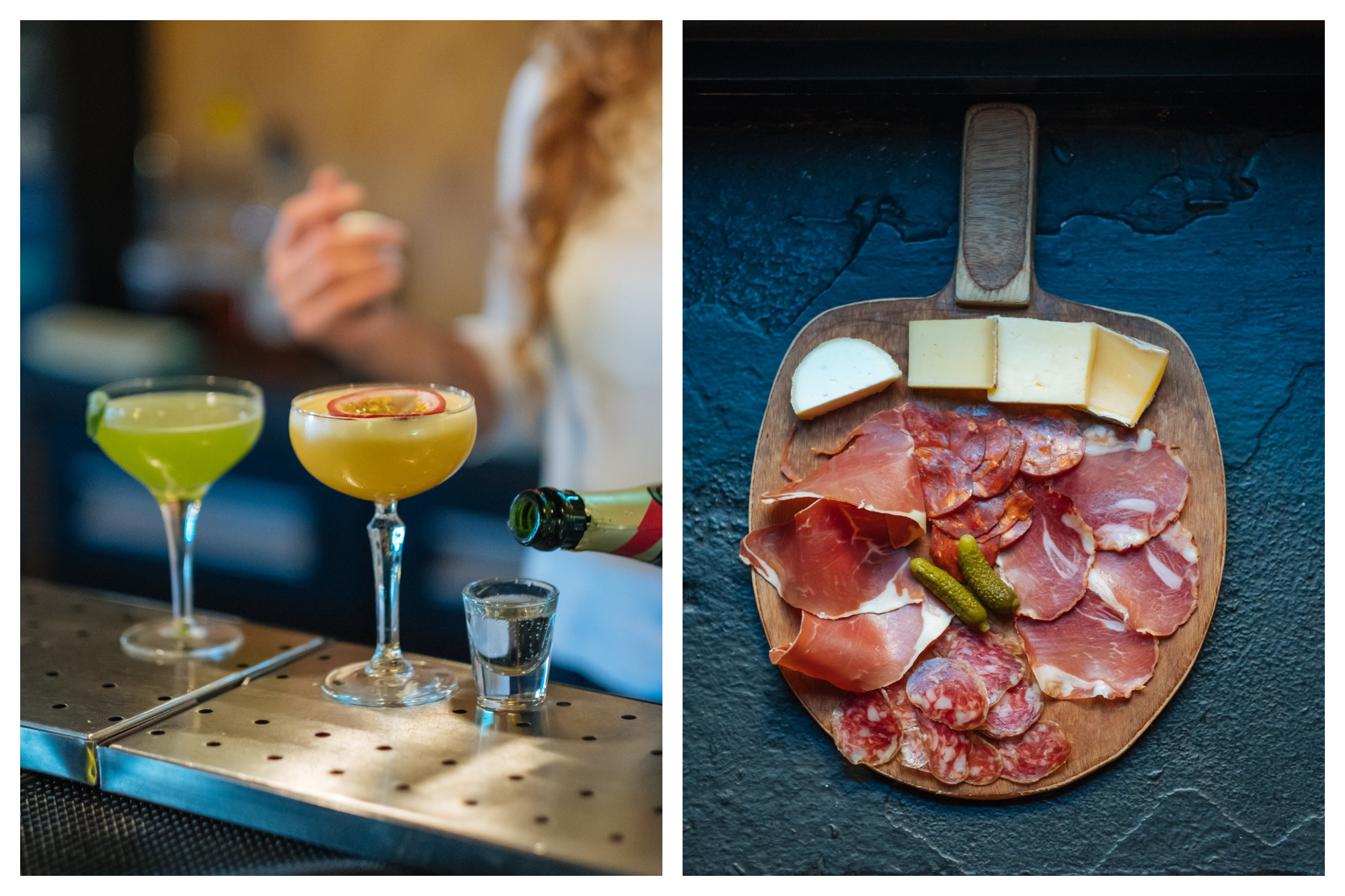 On left: A bartender serves up electric-colored drinks at Gossima Ping Pong Bar in Paris' 11th arrondissement. On right: Gossima Ping Pong Bar serves up cheese and charcuterie boards as the perfect snack between games.