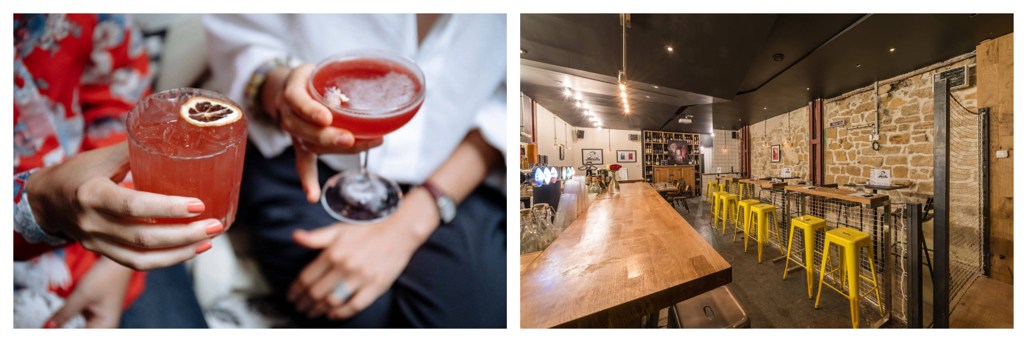 On left: Two friends hold bright cocktails from the bar Le Très Particulier in Montmartre, one a bright red and the other a soft grapefruit pink, garnished with a slice of blood orange. On right: The bar at Chez Bouboule in Paris' Pigalle neighborhood welcomes patrons to hop in for a drink and a game of pétanque, a classic summer pastime.