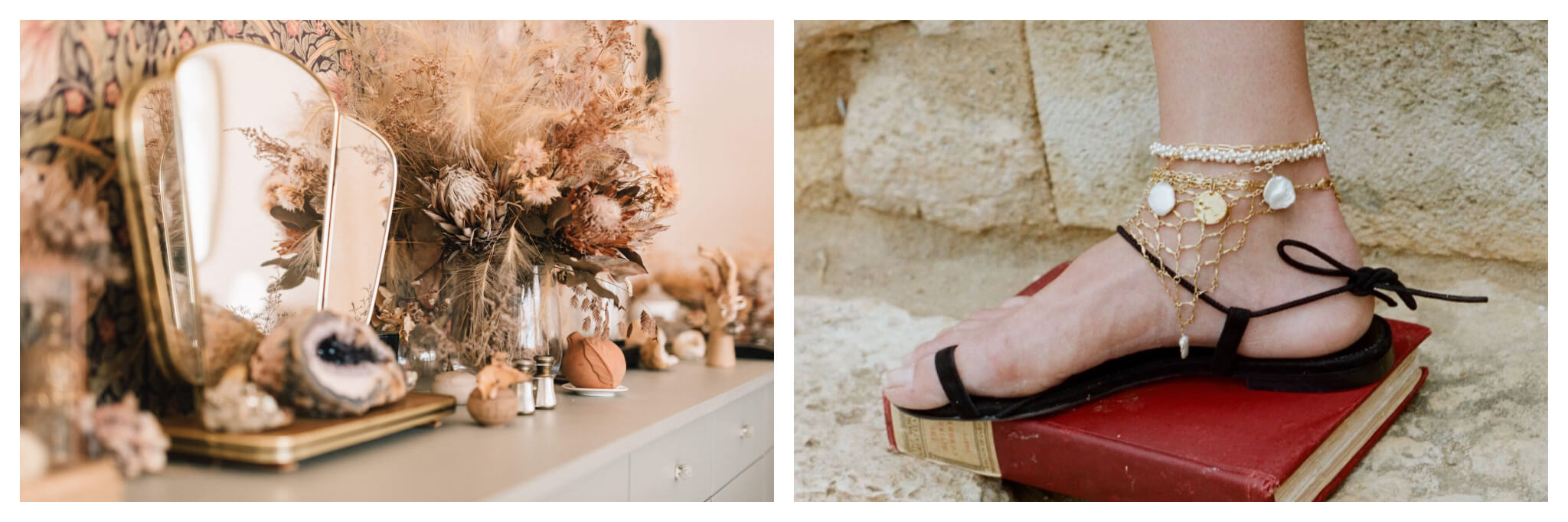 On left: At the Myrtille Beck shop in Paris' ninth arrondissement, clients are transported to a world laden with vintage charm, from the dried bouquets to the darling knick-knacks. On right: A the mesh gold anklet from Alighieri drapes gracefully over a sandalled foot. The brand and other cutting-edge designers showcase in the Galeries Lafayette on the Champs Elysées in Paris.