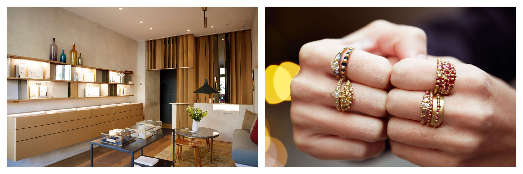 """On left: At White Bird, with three Paris locations, shoppers can peruse the polished displays for an international curation of jewelry by independent designers. On right: Multi-colored and dotted with diamonds, the gold rings designed by Polly Wales put the """"statement"""" in statement jewelry. Her collection is available at White Bird, which has three locations in Paris."""