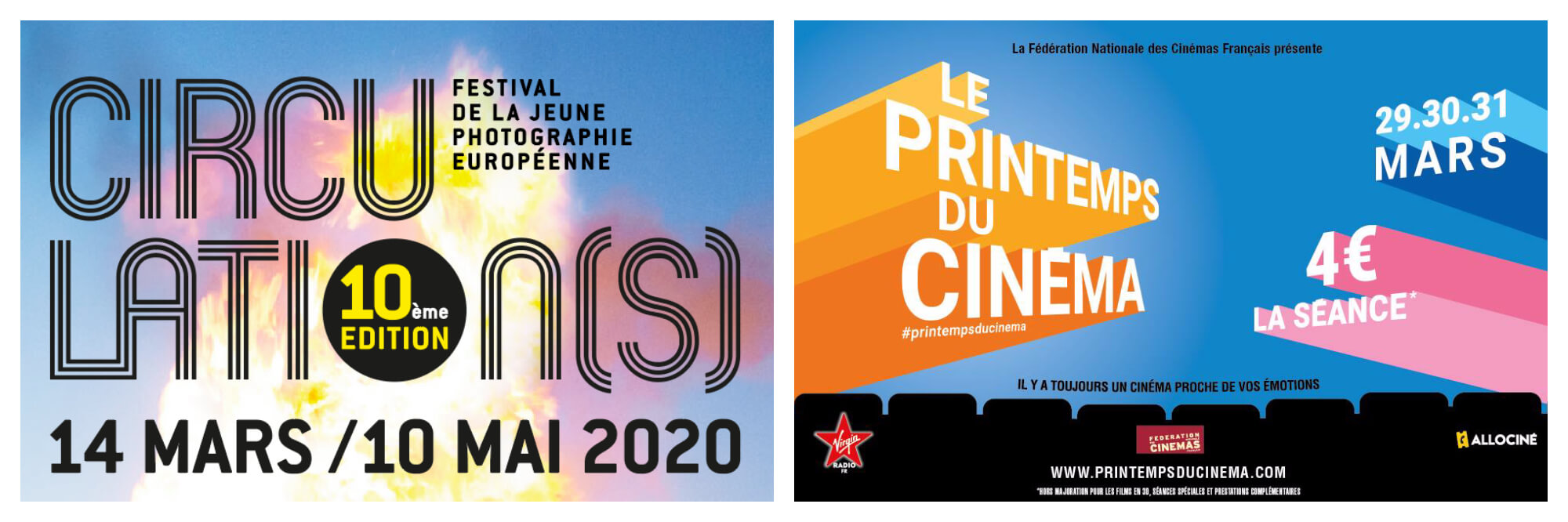 Left, banner for Circulations young photographers' festival in Paris in March. Right, Paris movie festival in March.