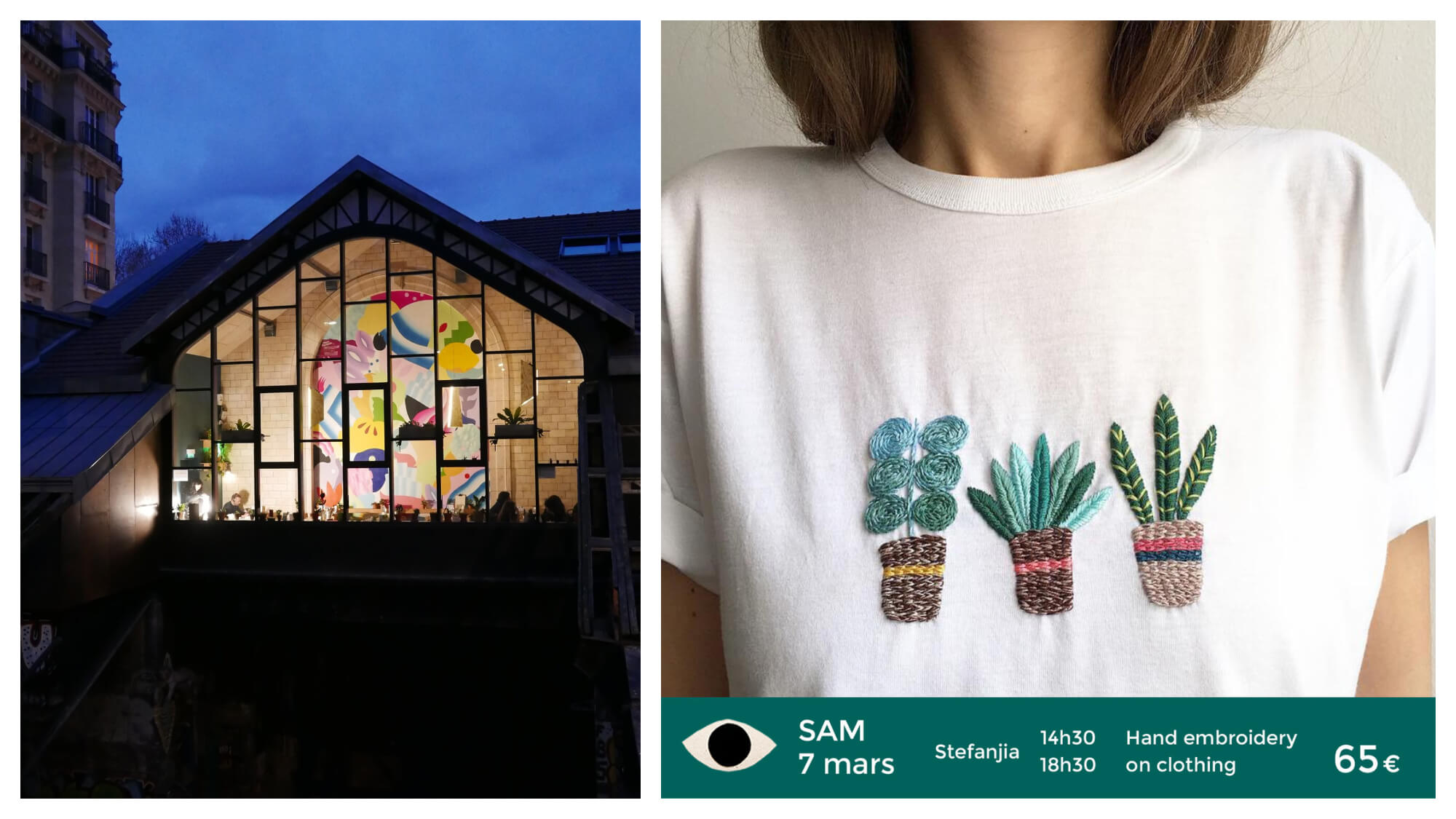 Left, the Hasard Ludique venue in Paris lit by night. Right, a girl wearing a t-shirt with embroidered cacti.