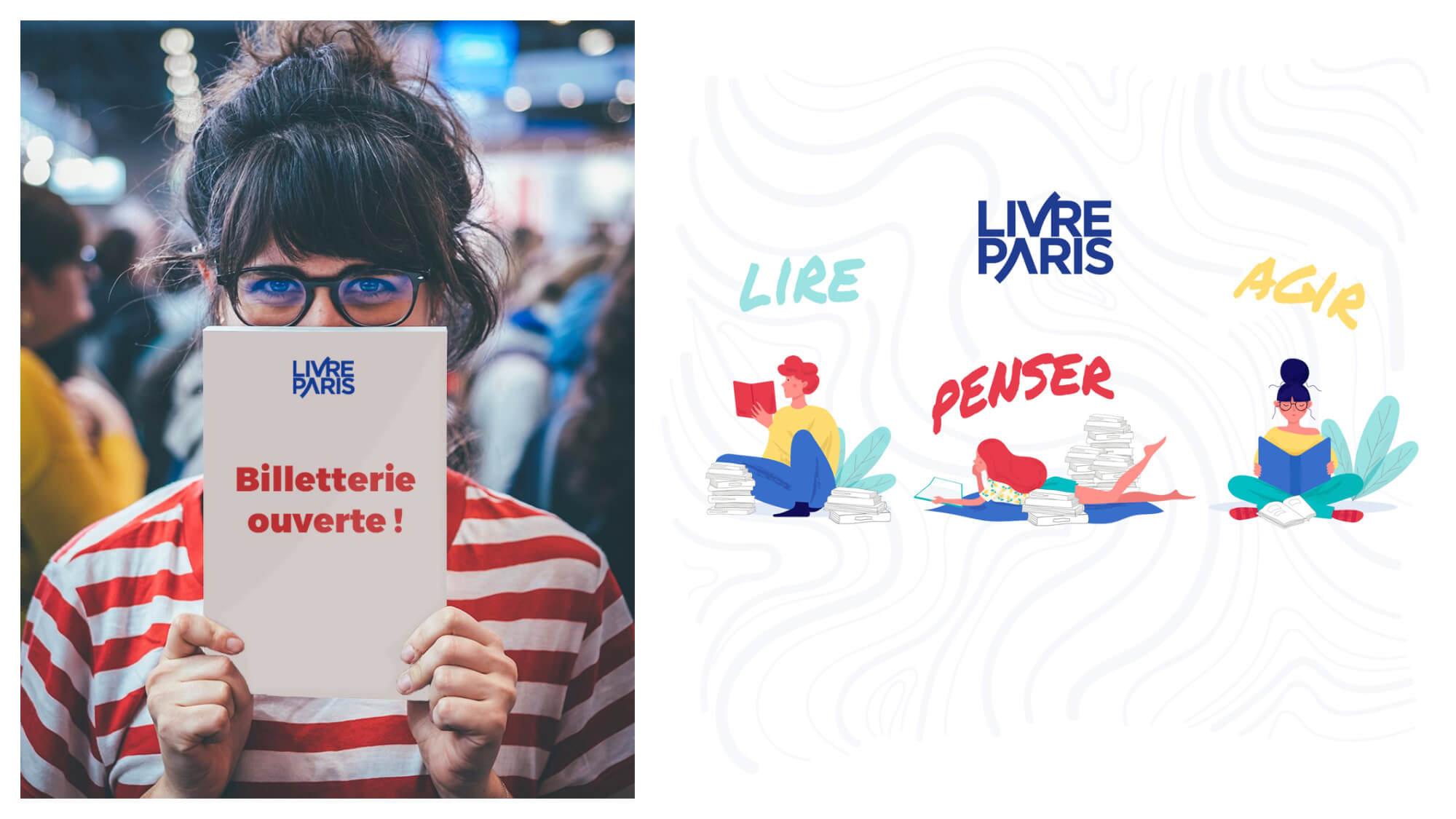 "Left, a girl holding up a book that reads ""tickets now on sale"" for the Paris book fair in March. Right, a poster advertising the Paris book fair."