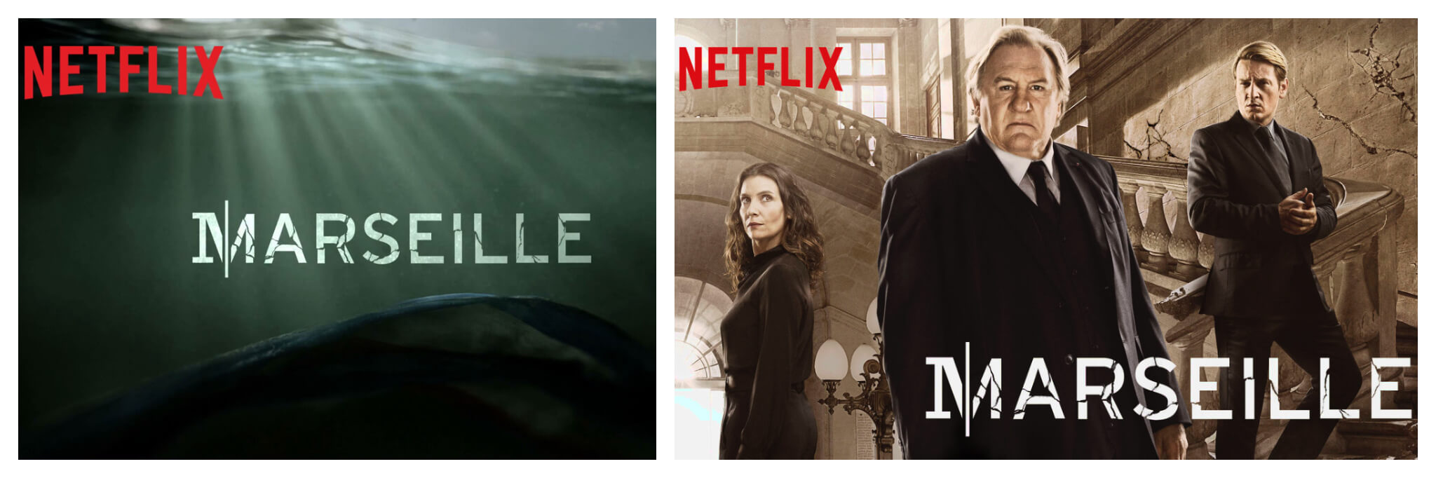 Left and right, posters for French Netflix series Marseille with Gérard Depardieu, the perfect antidote to staying at home while on lockdown.