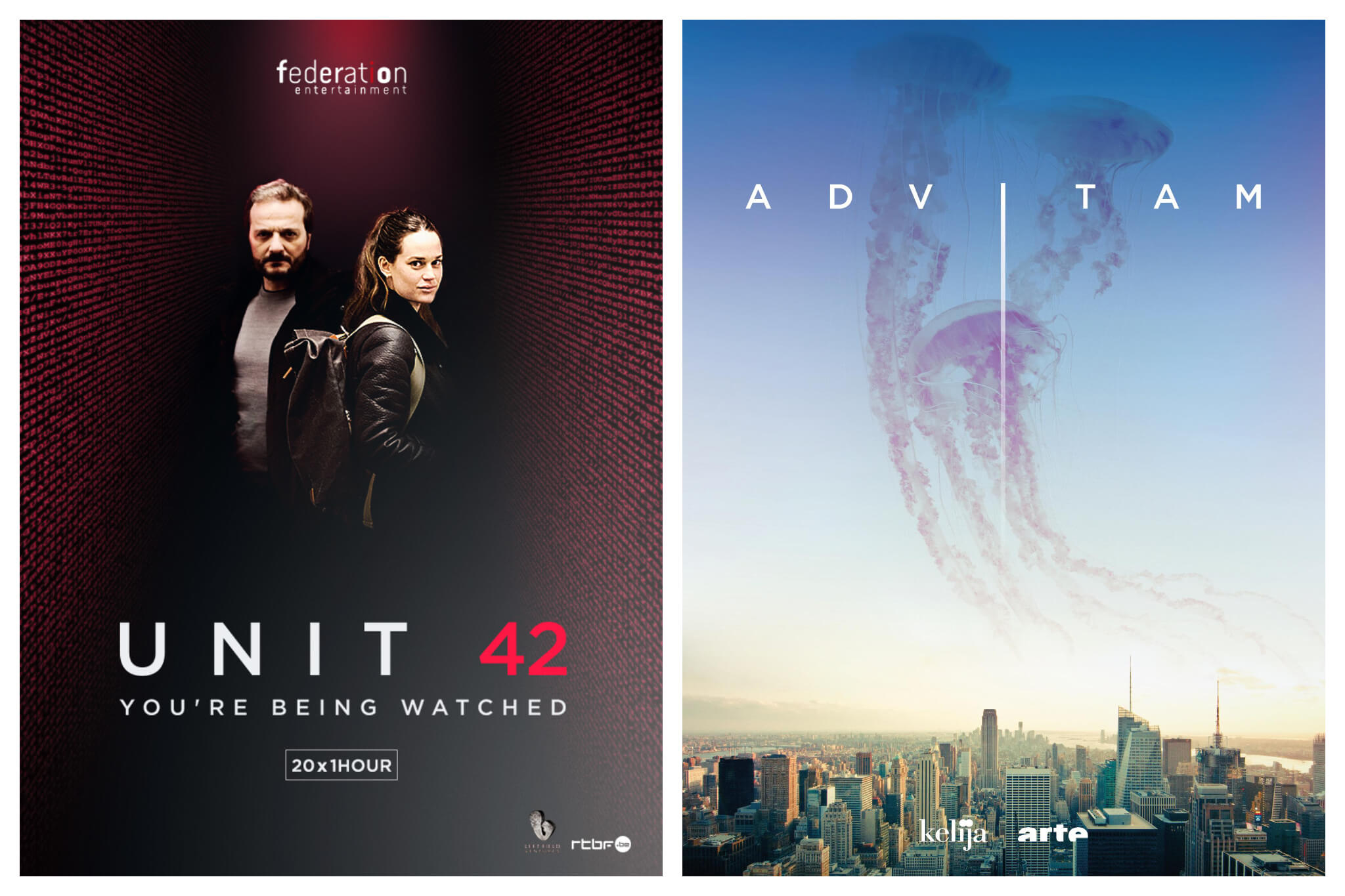 Left, poster for French Netflix series Unit 42, a crime series. Right, poster for French Netflix series Advitam with about aliens.
