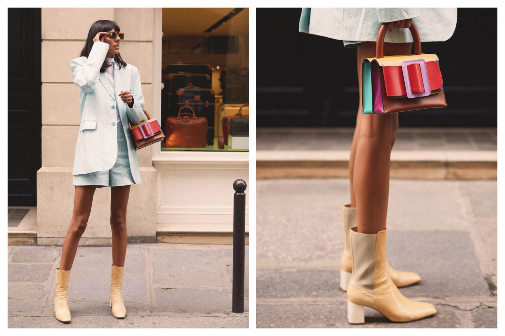 Left: a woman standing on a Parisian footpath in front of a shop window. She's wearing a pale blue blazer and matching shorts, with sunglasses, a multicolour handbag, and tan heeled boots. Right: a close up of the same woman's legs with the handbag and boots.