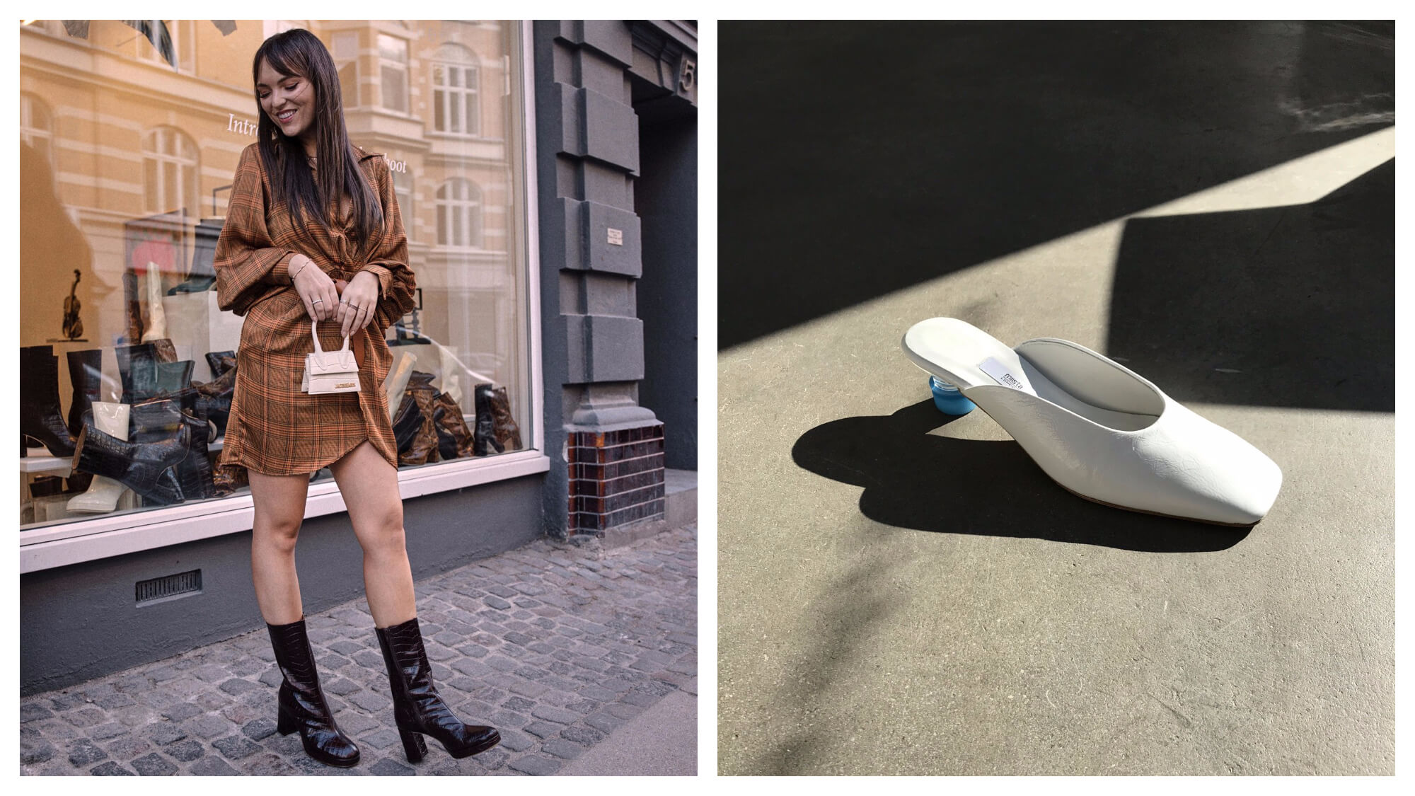 Left: a smiling woman standing on a cobblestone footpath in front of a shop window. She's wearing a brown dress with a white miniature handbag and black heeled boots. Right: a white slip on mule shoe with a blue plastic bottle top lid as the heel.