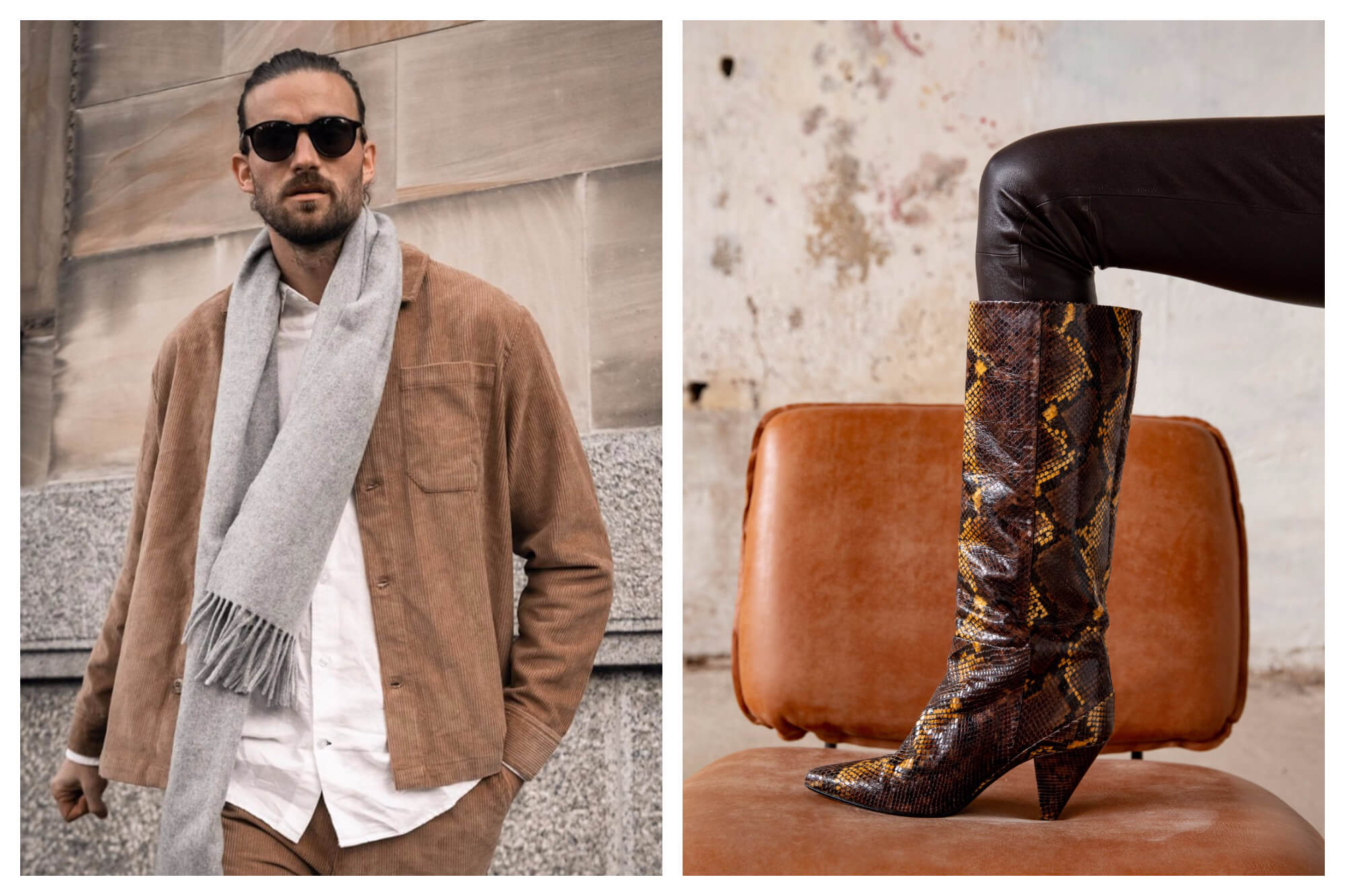 Left: a man in front of a stone wall wearing a camel coloured jacket and matching pants, a white shirt, a grey scarf and sunglasses. Right: a woman's leg positioned on a tan leather chair. She's wearing black pants with brown snakeskin heeled boots.
