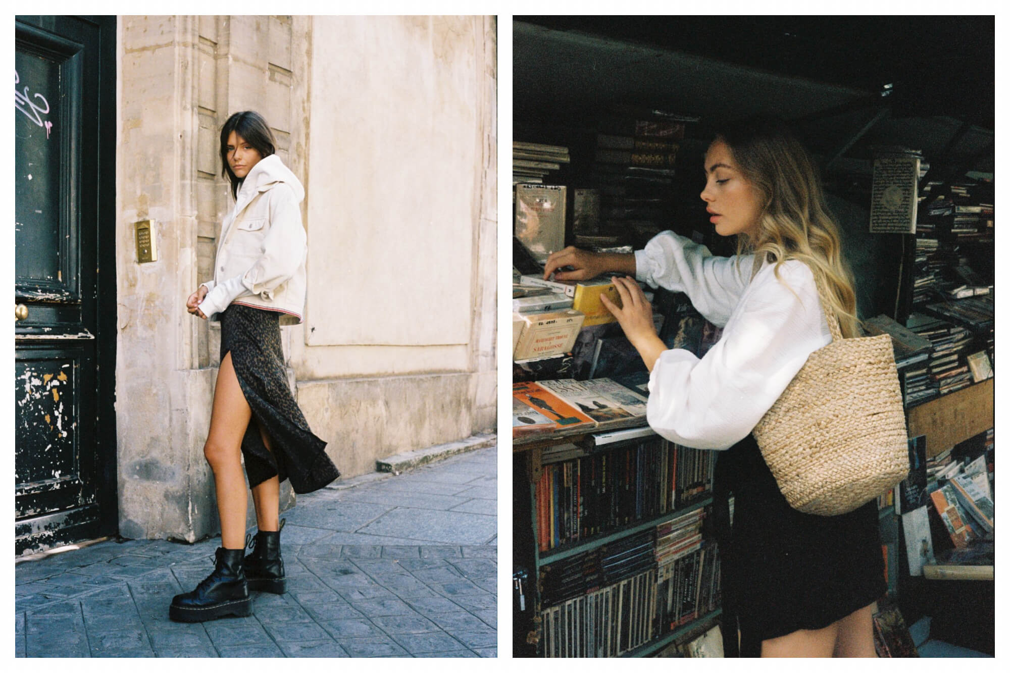 Left: a girl standing on a Parisian footpath in front of a door to a building. She's wearing a dress with a jacket and black chunky boots. Right: a girl looking through the books of a bookseller on the Seine in Paris. She's wearing a white shirt and is carrying a straw shoulder bag.