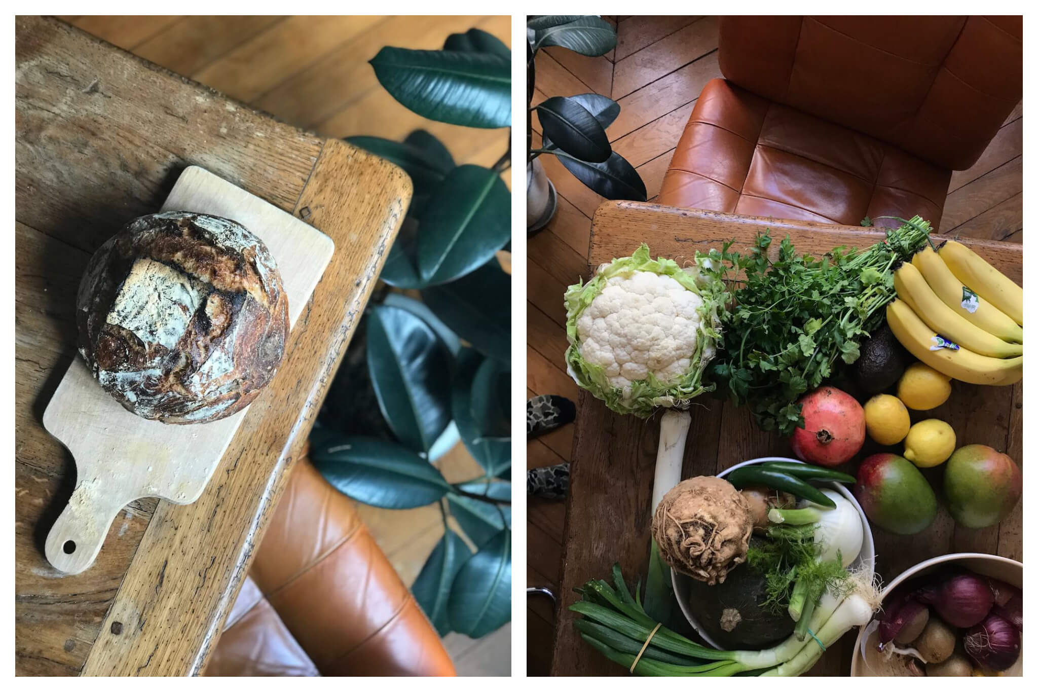 A loaf of bread and fresh produce lay on the tabletop of Erin's Paris apartment.