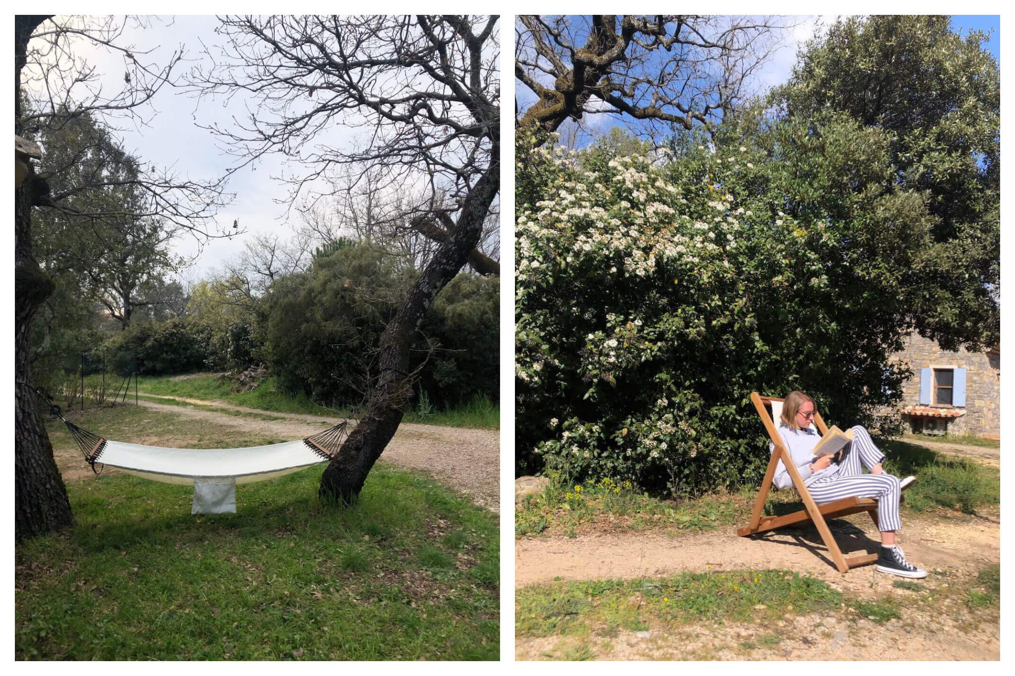 Left: A hammock hangs from two trees in the South of France. Right: Jamie sits and reads a book on a sunny day in the South of France.