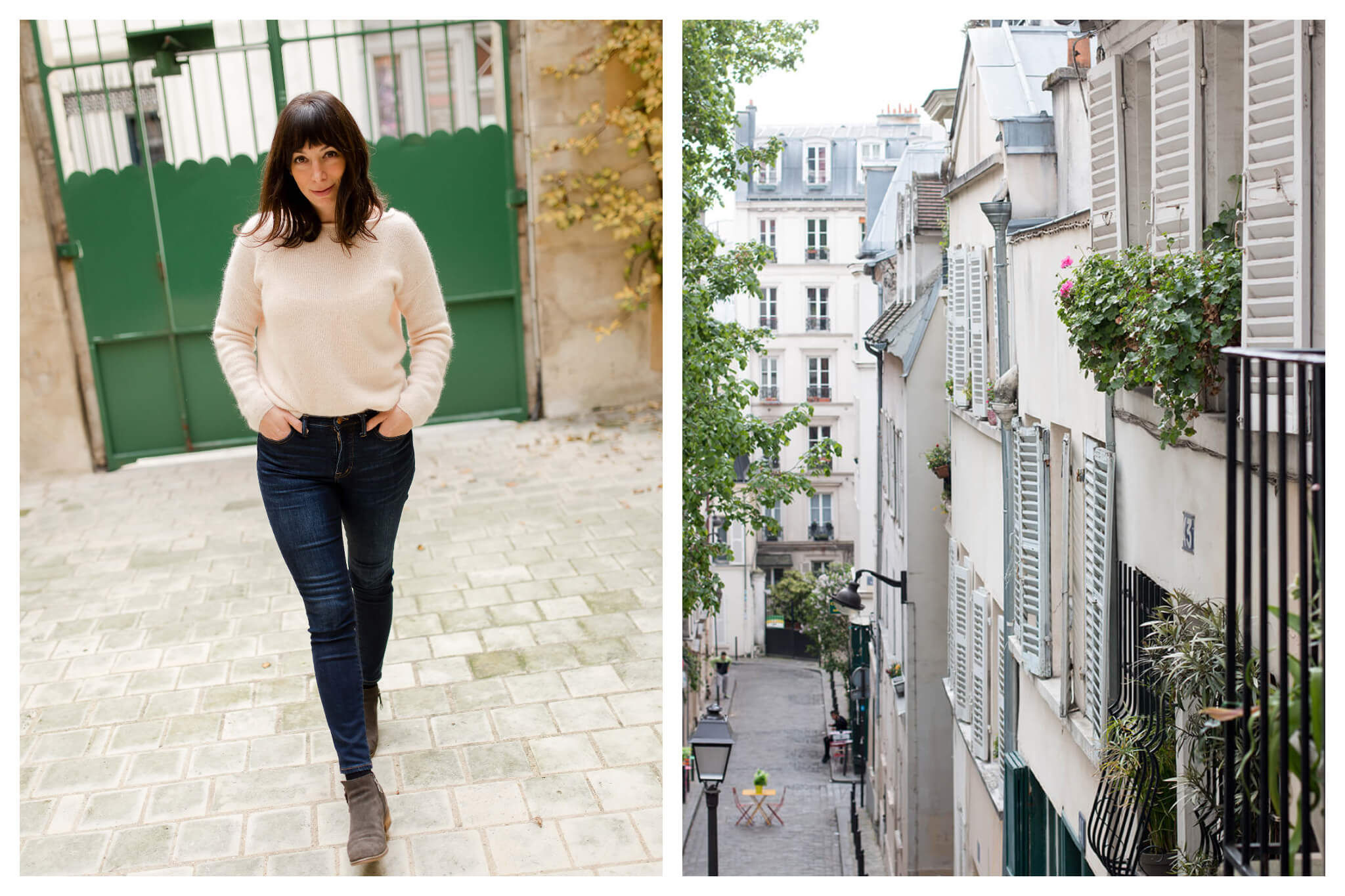 On left: Rebecca Plotnick, travel photographer and blogger at Everyday Parisian, on a stroll through Paris. On right: The charming shuttered facades of Montmartre stay open on a warm day.