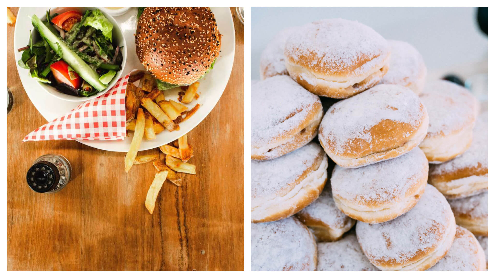 Left, burger and fries on a plate on a wooden table. Right, a pillowy stack of powdered doughnuts.