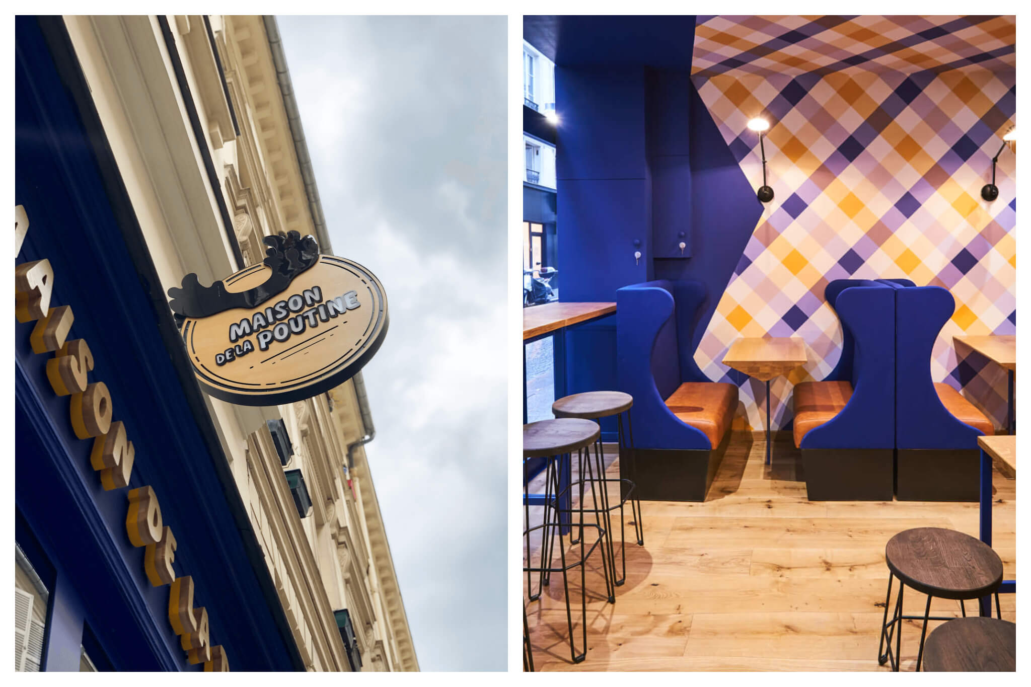 Left, the sign outside of the Maison de la Poutine in Paris. Inside the Maison de la Poutine with its royal blue interiors and booths. There are locations in Paris' 11th and 2nd arrondissements.