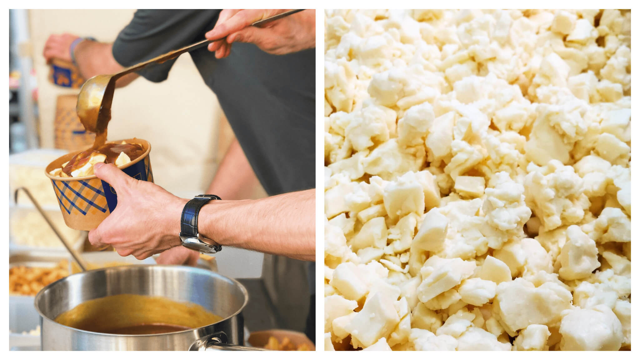 On left, poutine being poured in a paper bowl. On right, crumbly cheese. Both photographs courtesy of Maison de la Poutine, found in Paris' 2nd and 11th arrondissements.