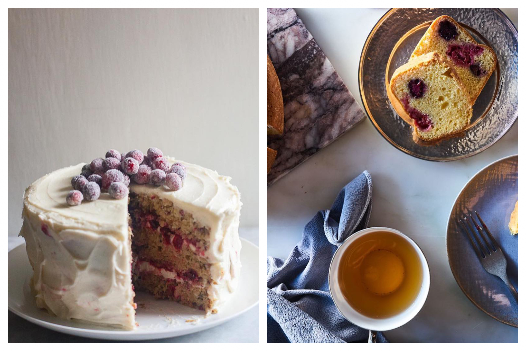 On left: A towering, generously-frosted cranberry and parsnip cake is illuminated by the soft window light. On right: It's tea time, complete with thick, soft slices of Italian berry cake.